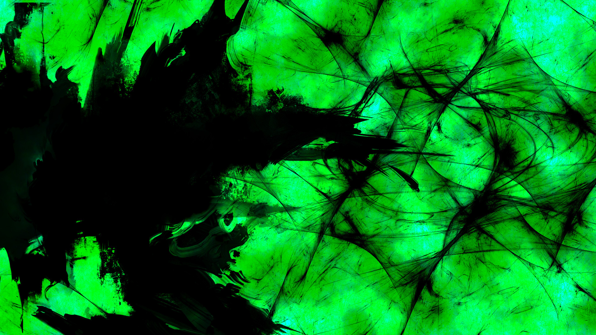 1920x1080 Green Abstract Wallpaper Full HD Neon Design Plain And Black And ... src