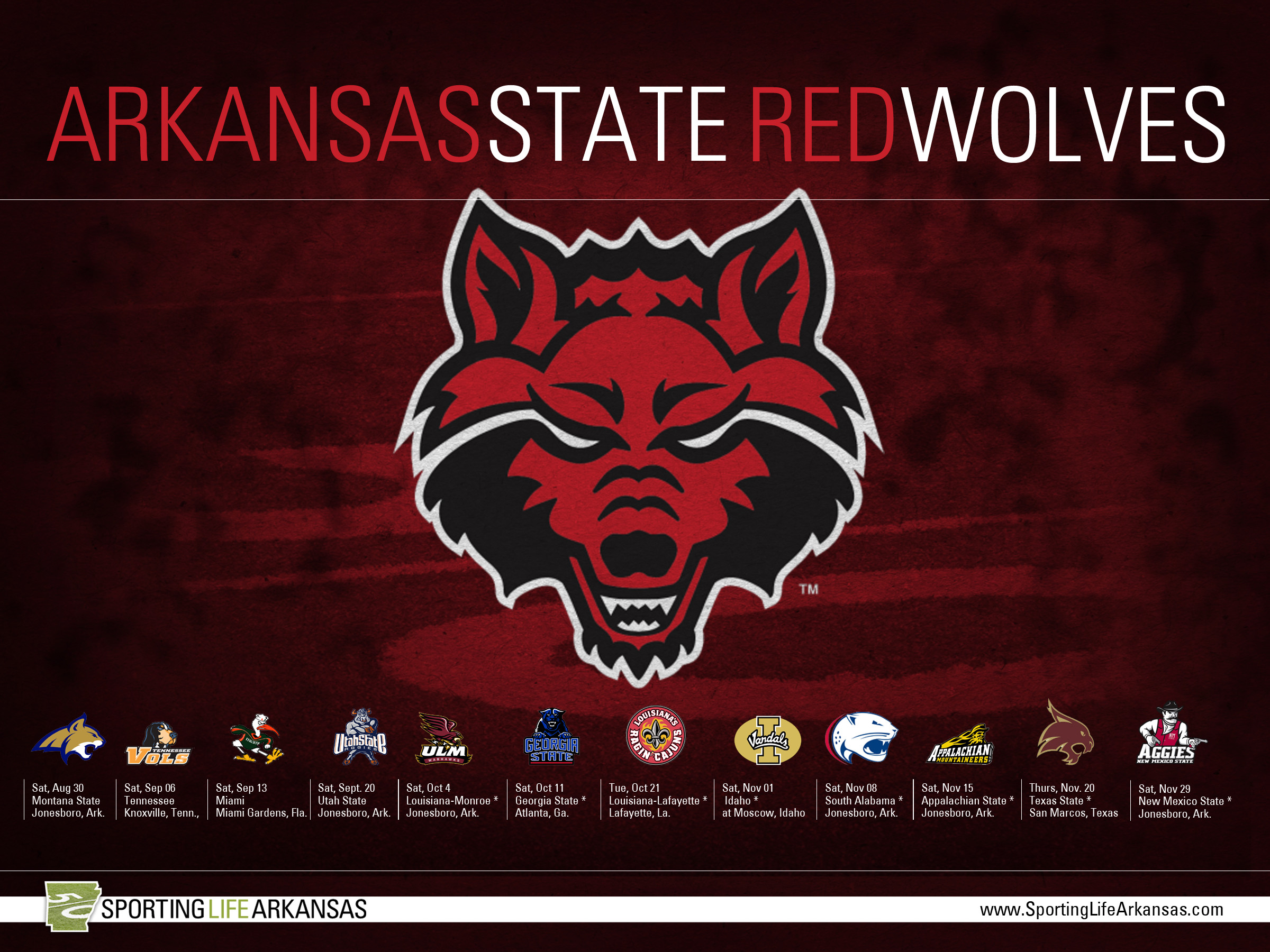 2400x1800 2014 Arkansas State Red Wolves Football Schedule Wallpaper
