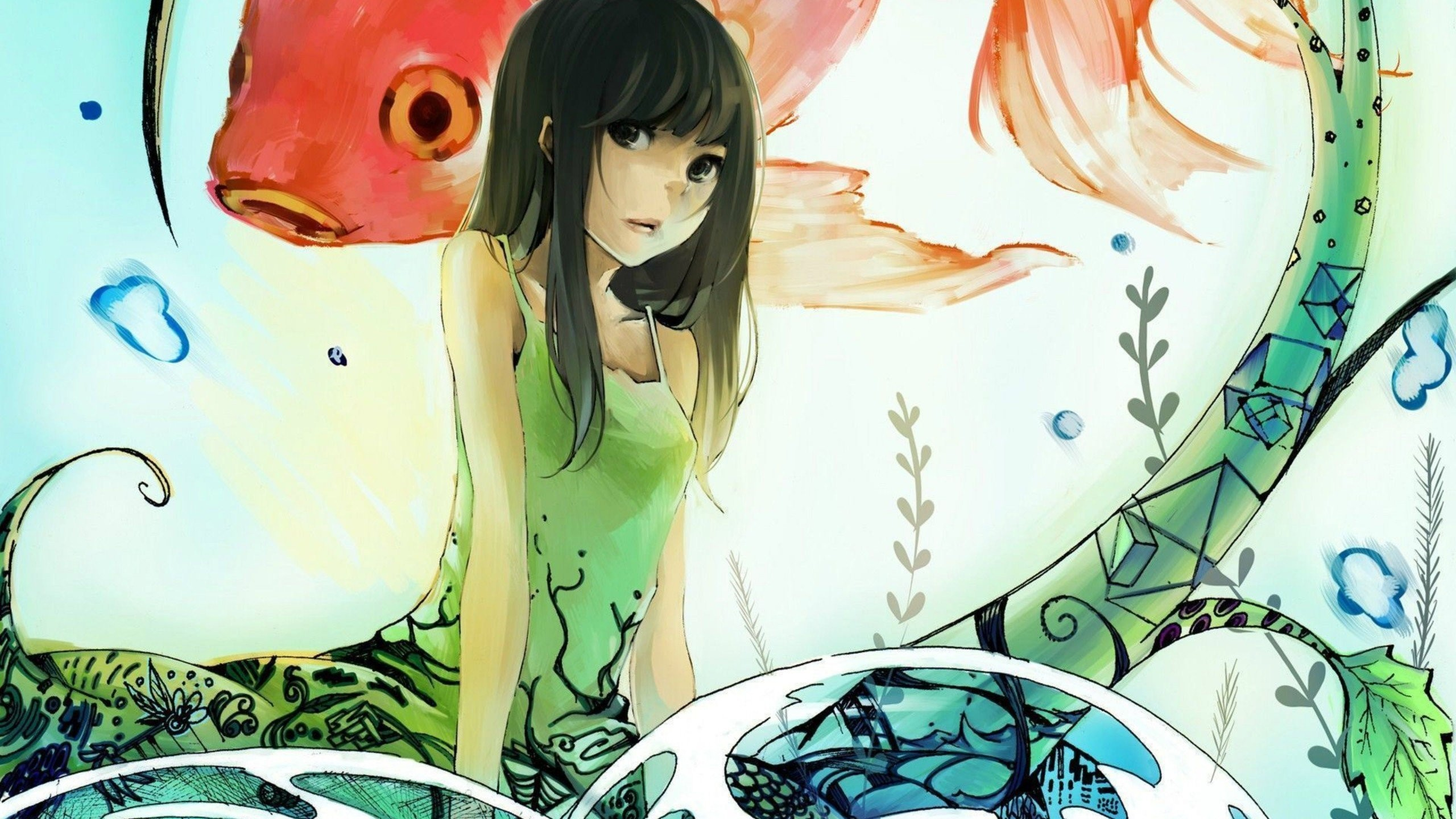 2560x1440 Fish Koi Girl Anime