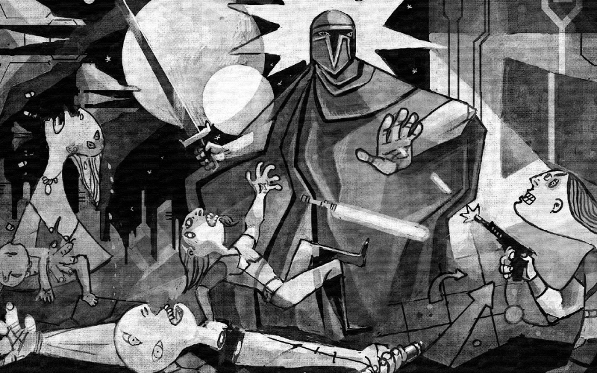 1920x1200 'Star Wars: Clone Wars meets Picasso's Guernica' via Empire Online   wallpaper (click for full size)