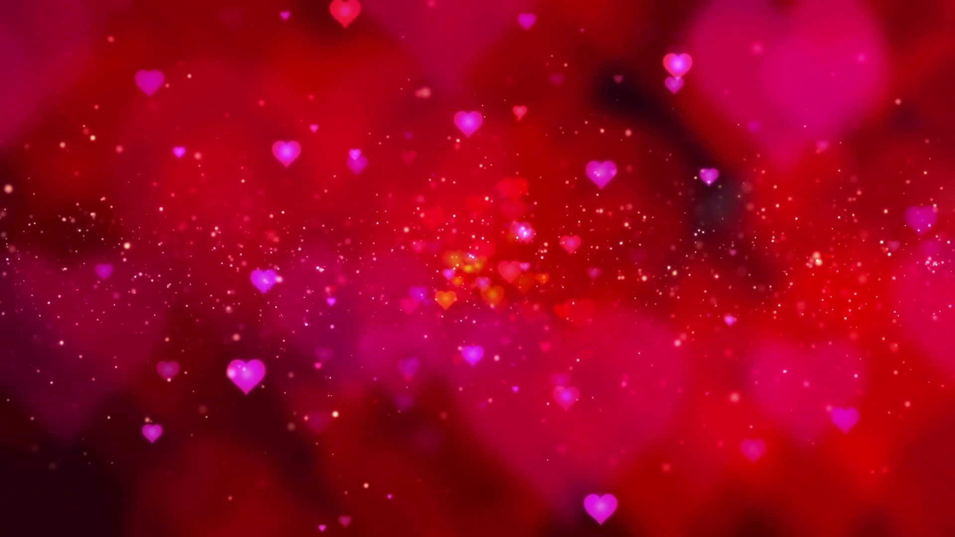 1920x1080 Seamless loop red Valentine flowing hearts and sparkling particles  background