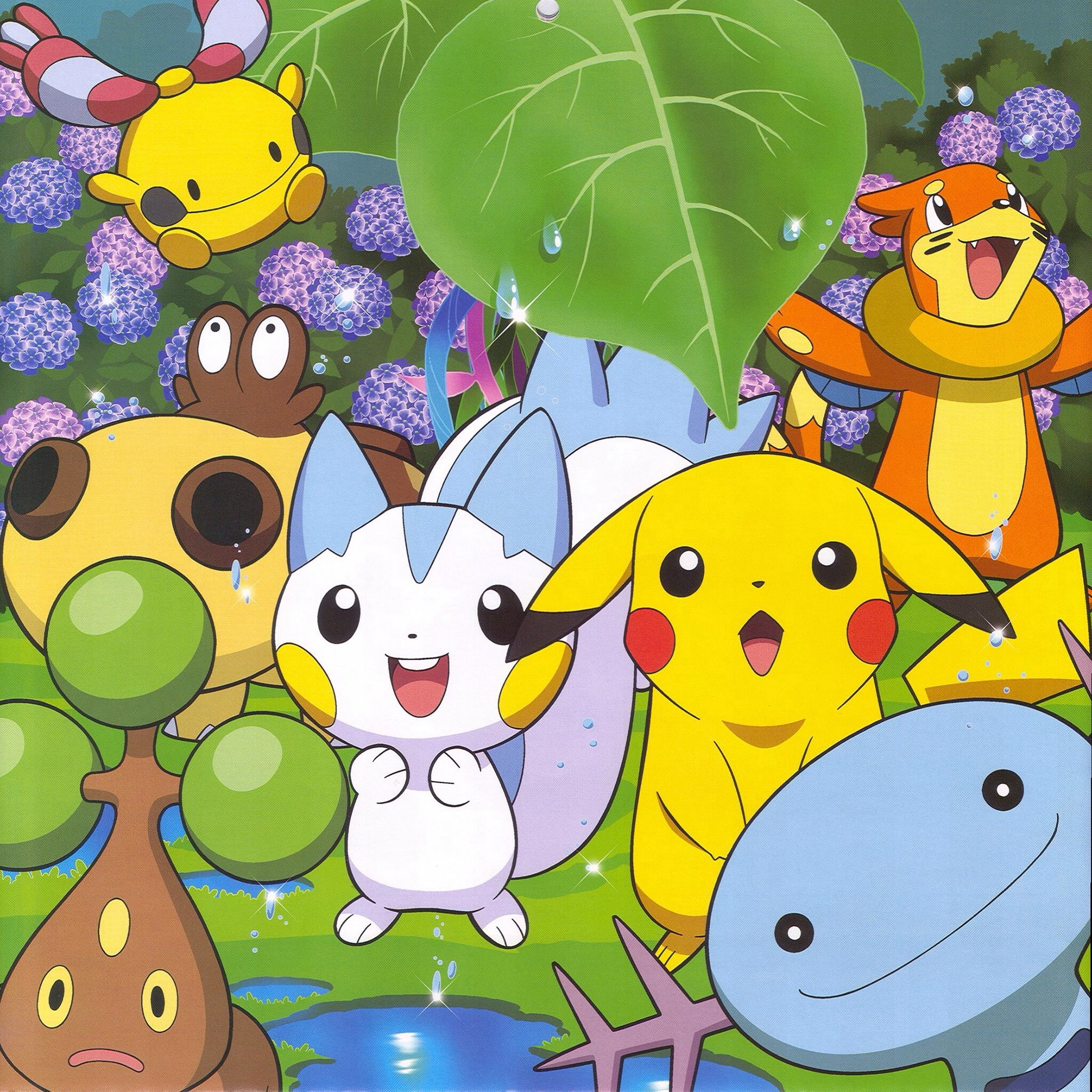 2048x2048 pokémon images pikachu and friends playing in the Spring HD wallpaper and  background photos