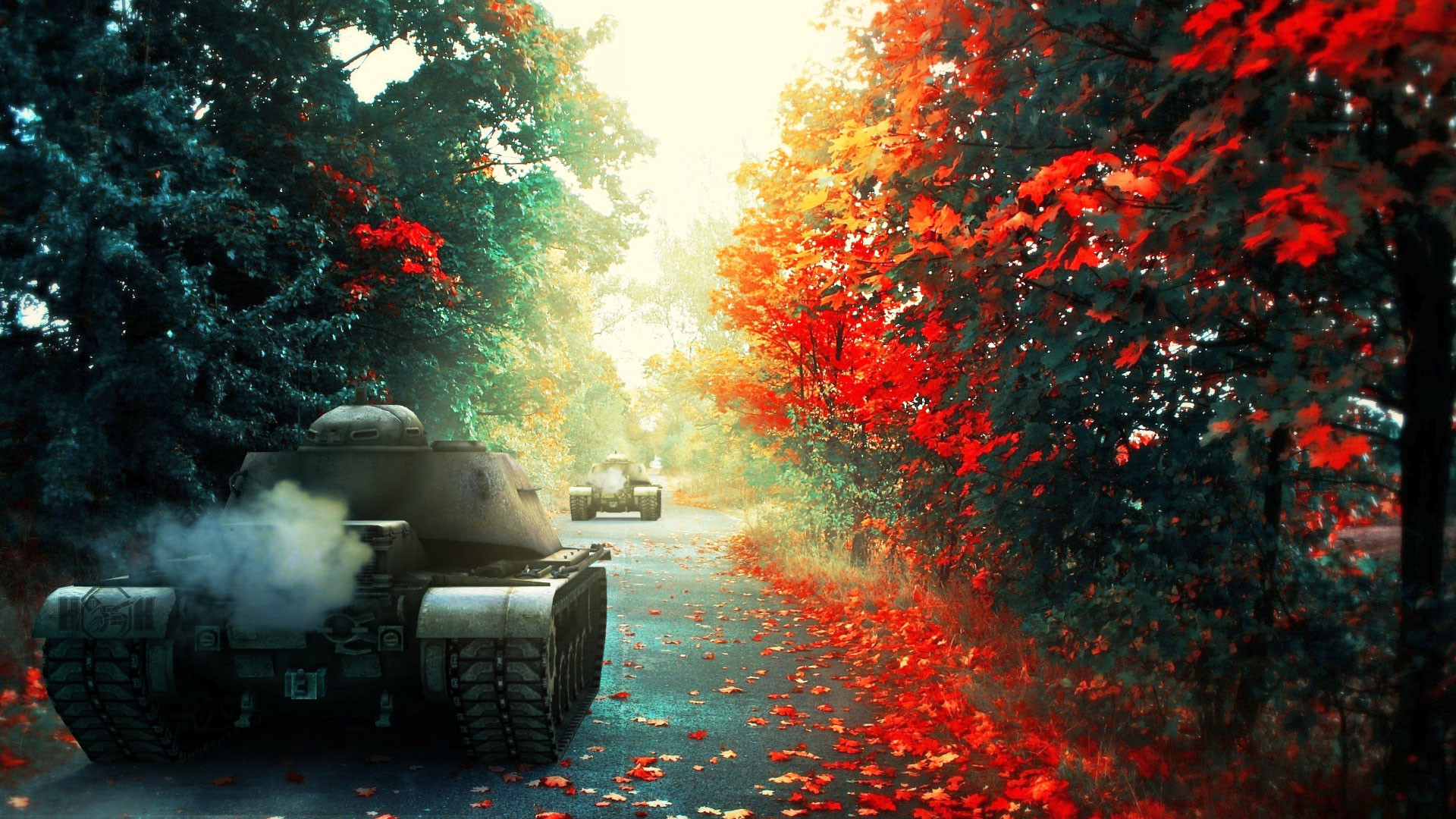 1920x1080 hd pics photos best war vehicles tanks road nature autumn leaves hd quality desktop  background wallpaper