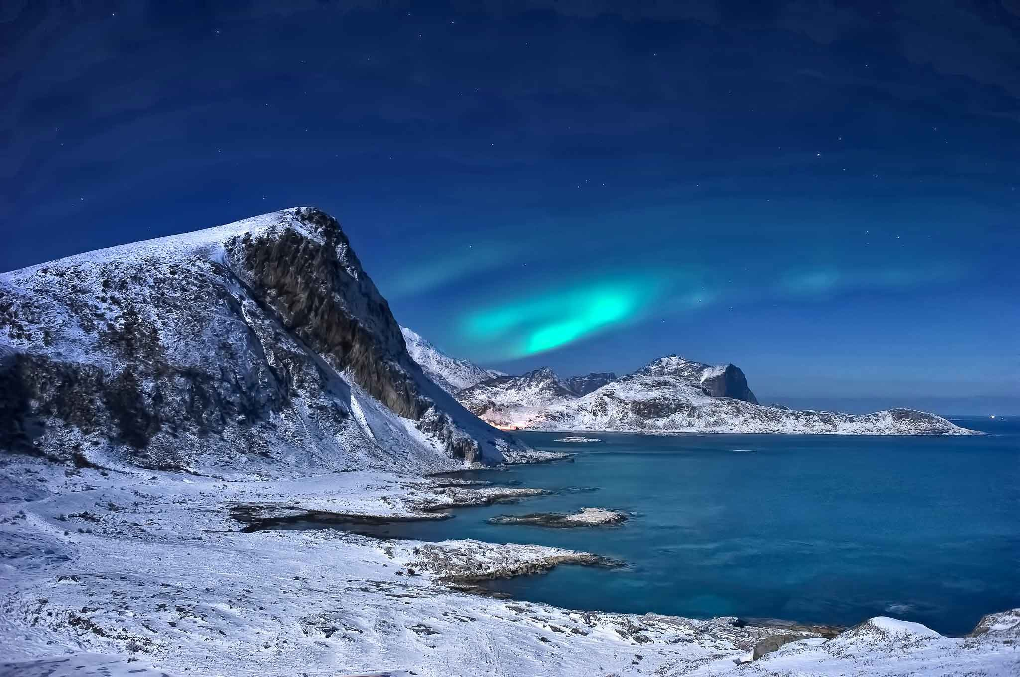 2048x1360 Lakes Norway Landscape Winter Northern Snow Lofoten Sea Islands Lights  Mountains HD Nature Wallpapers For Windows