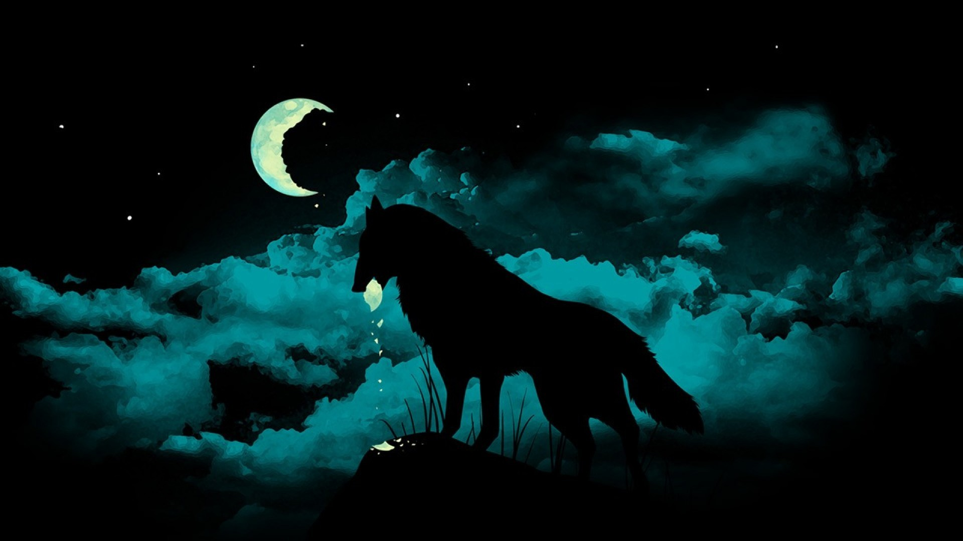1920x1080 3D Black Wolf Eating Moon Wallpaper