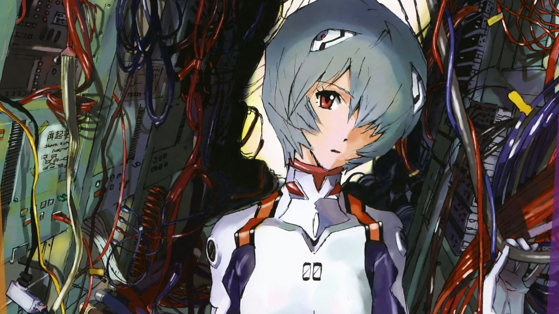 1920x1080 Wallpaper evangelion sight brown eyes rei ayanami pilot