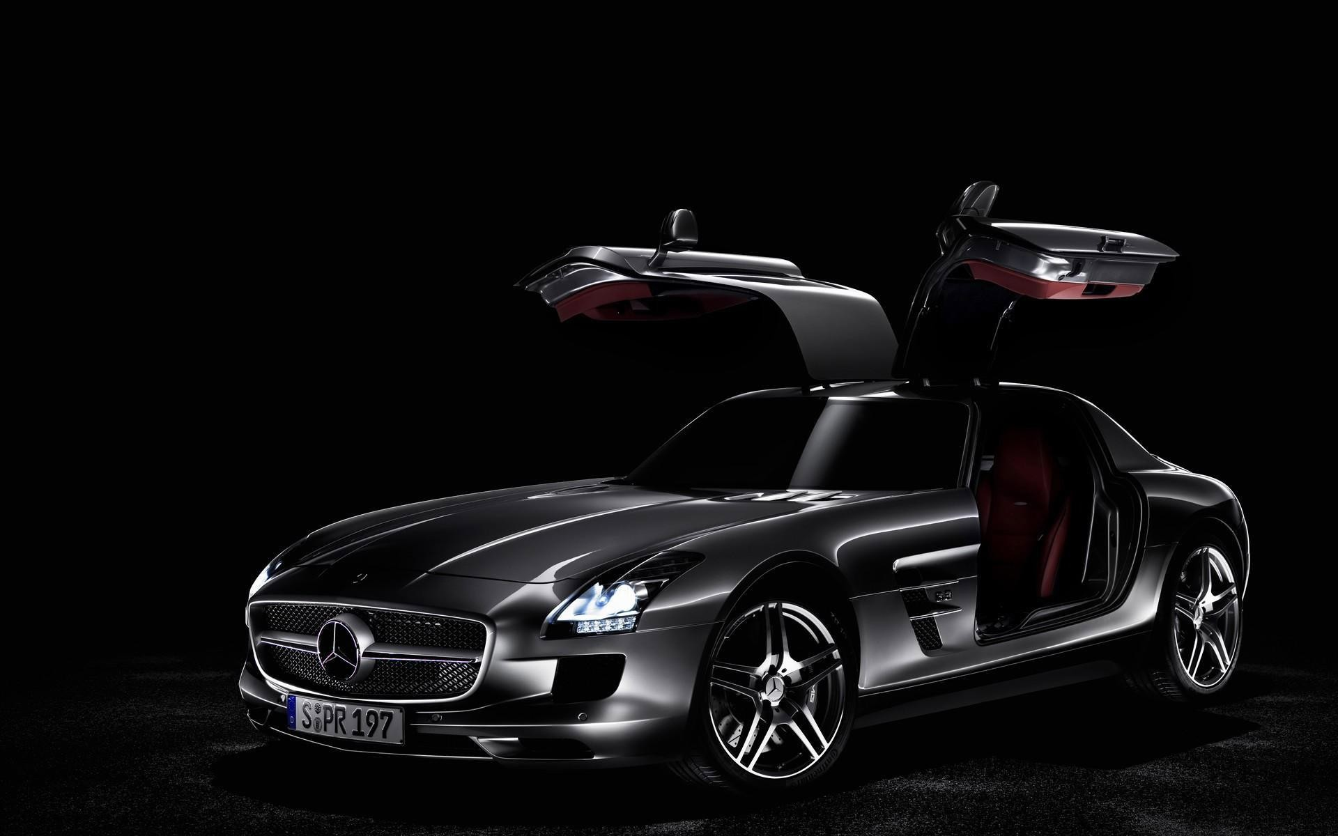 1920x1200 Dark gray Mercedes-Benz SLS AMG