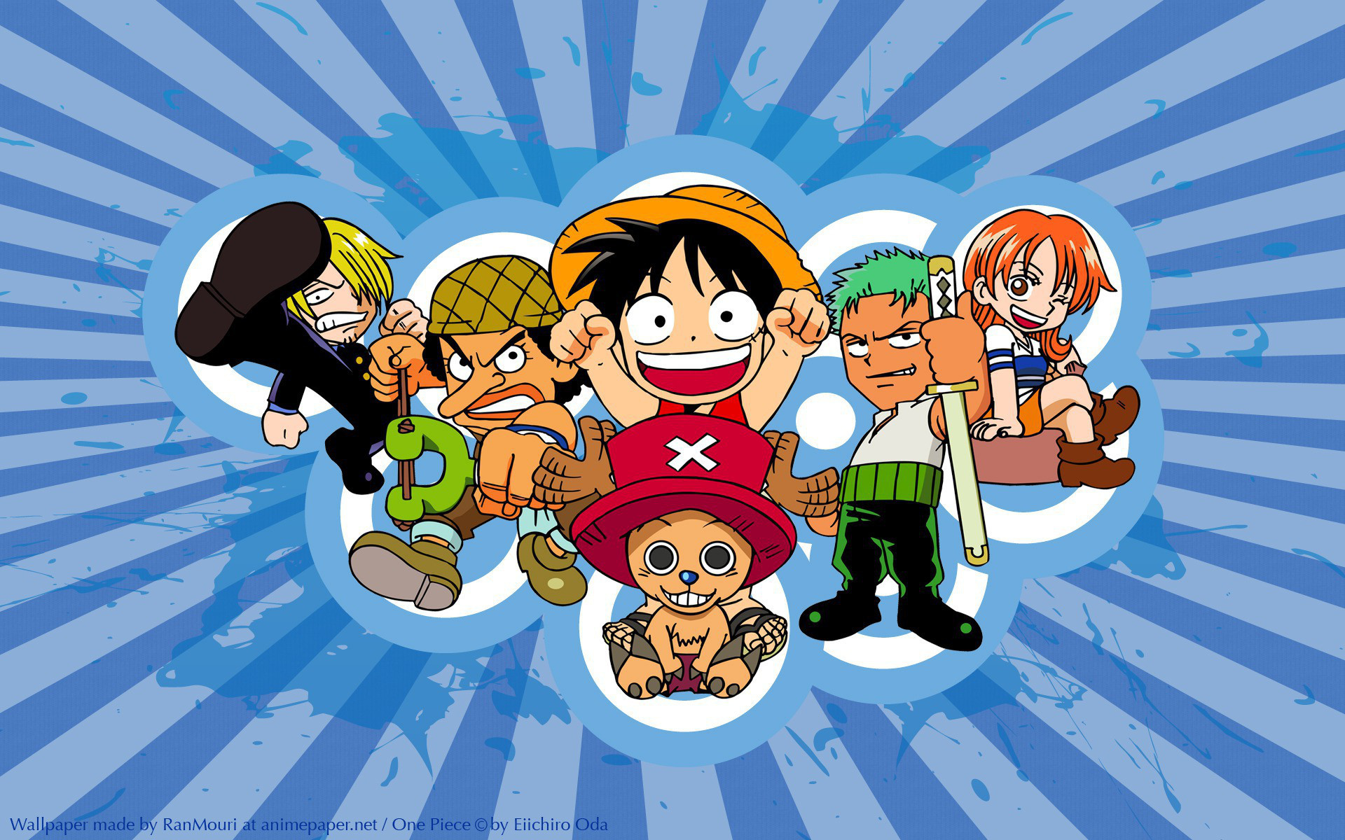 1920x1200 Anime - One Piece Chibi Monkey D. Luffy Sanji (One Piece) Zoro Roronoa