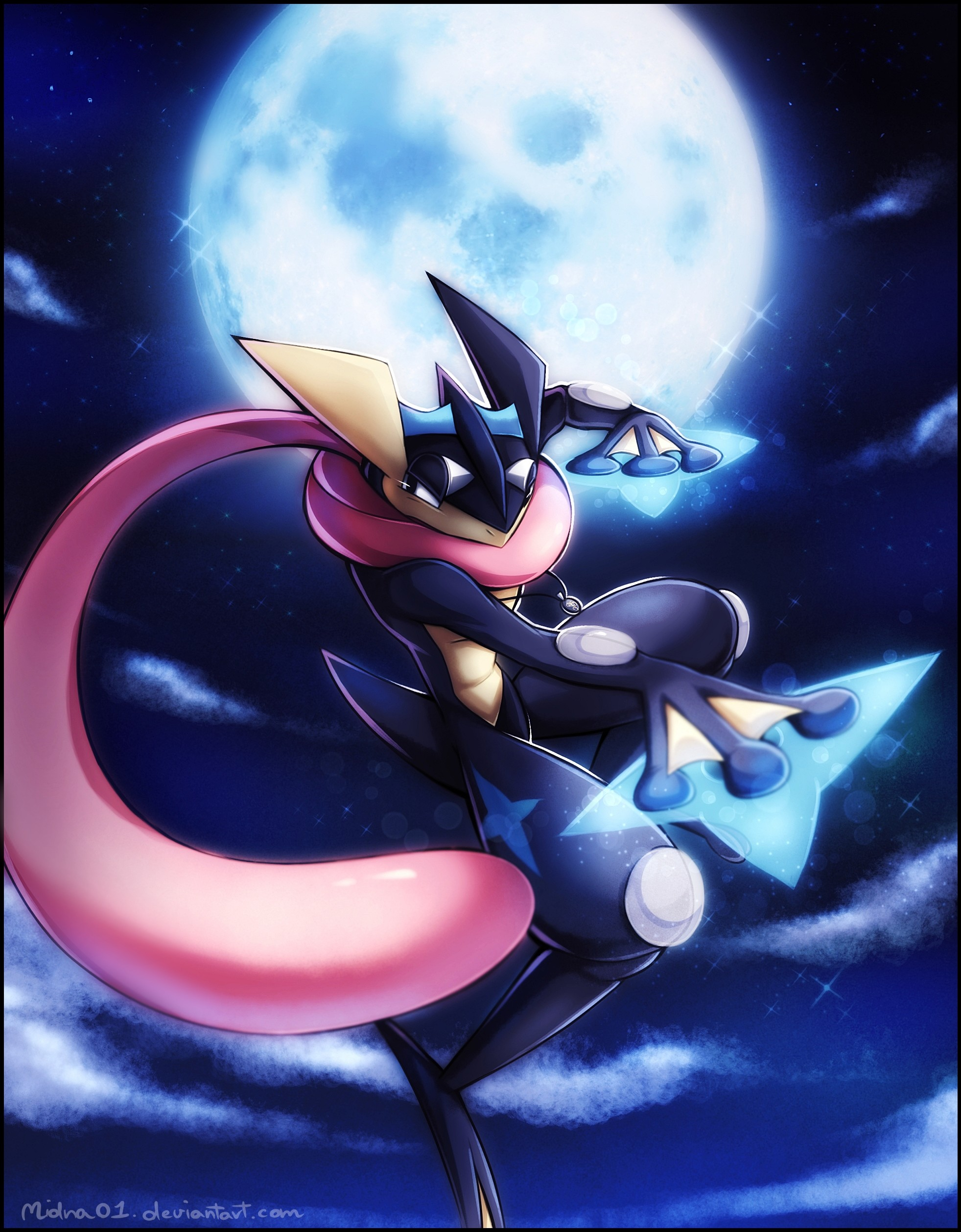 1963x2516 e621 absurd_res feral full_moon greninja hi_res midna01 moon nintendo  pokémon ranged_weapon shuriken solo tongue video_games weapon