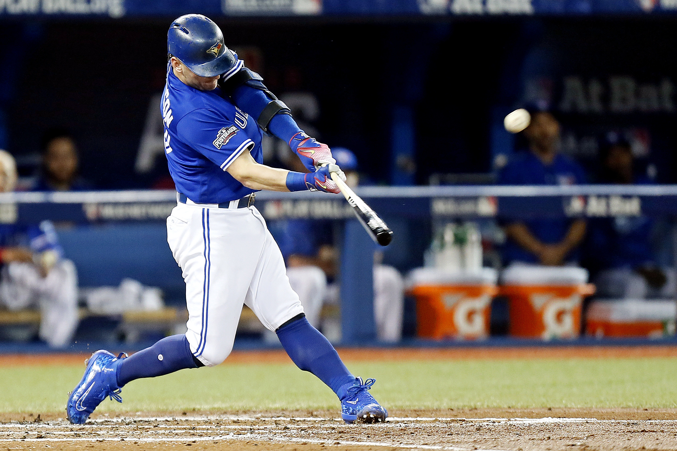 2851x1901 Oct 18, 2016; Toronto, Ontario, CAN; Toronto Blue Jays third baseman Josh  Donaldson (20) hits a singe home run during the third inning against the  Cleveland ...