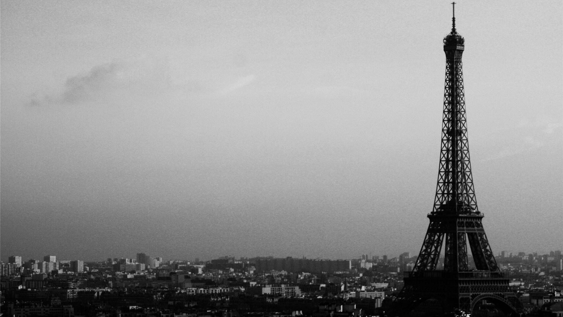 1920x1080 Black And White Eiffel Tower Wallpaper HD 3907