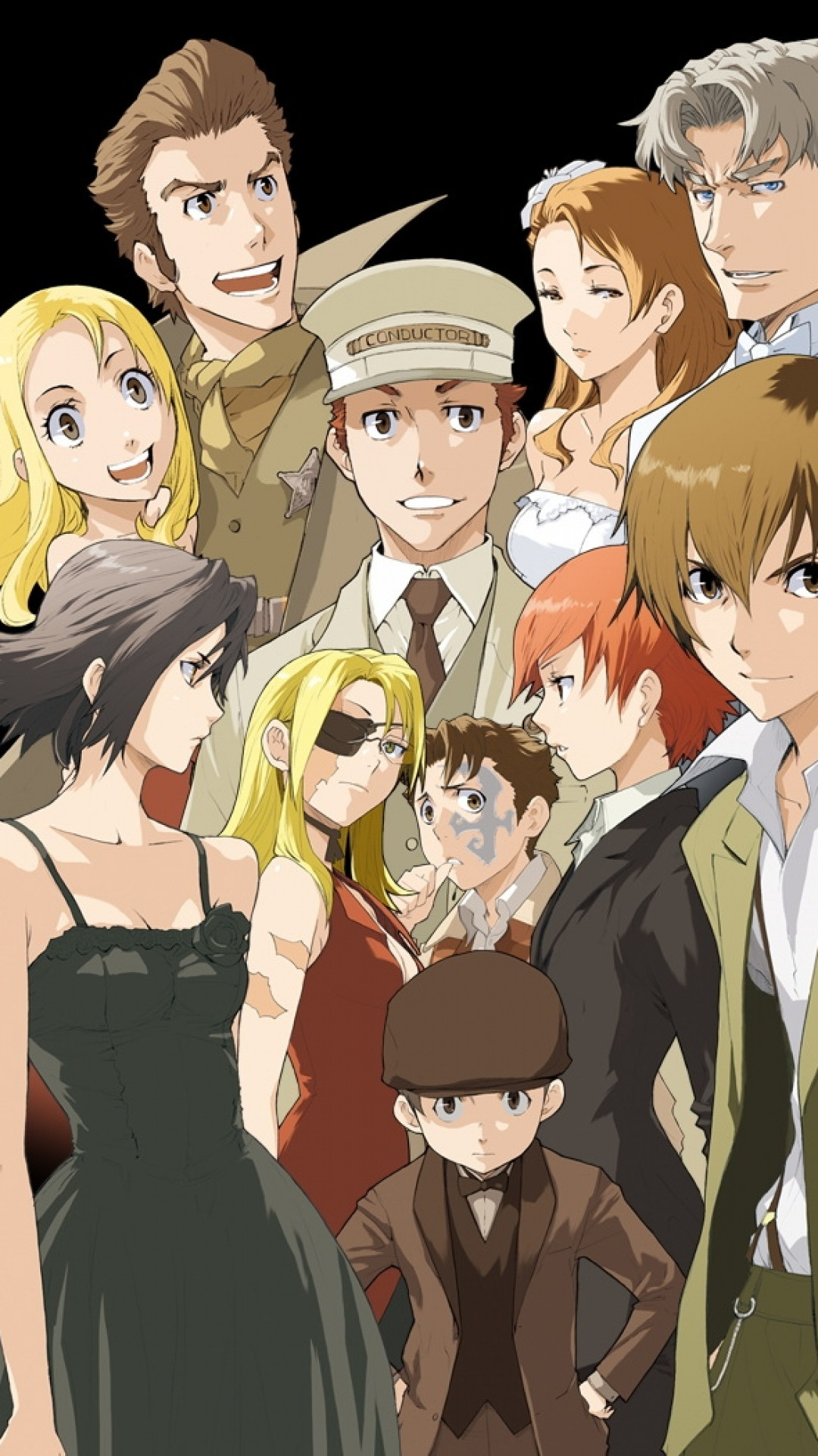 1080x1920  Wallpaper baccano, crowd, emotion, background