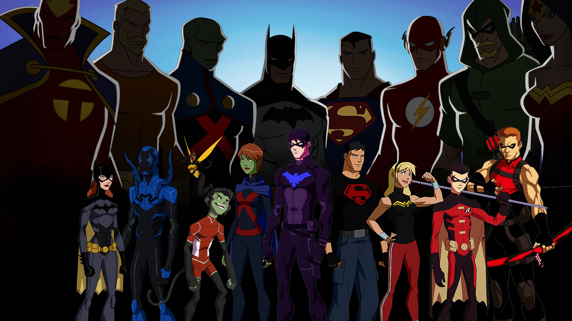 1920x1080 Cartoon - Young Justice Red Tornado Aquaman Martian Manhunter Batman  Superman Flash Green Arrow Batgirl Blue