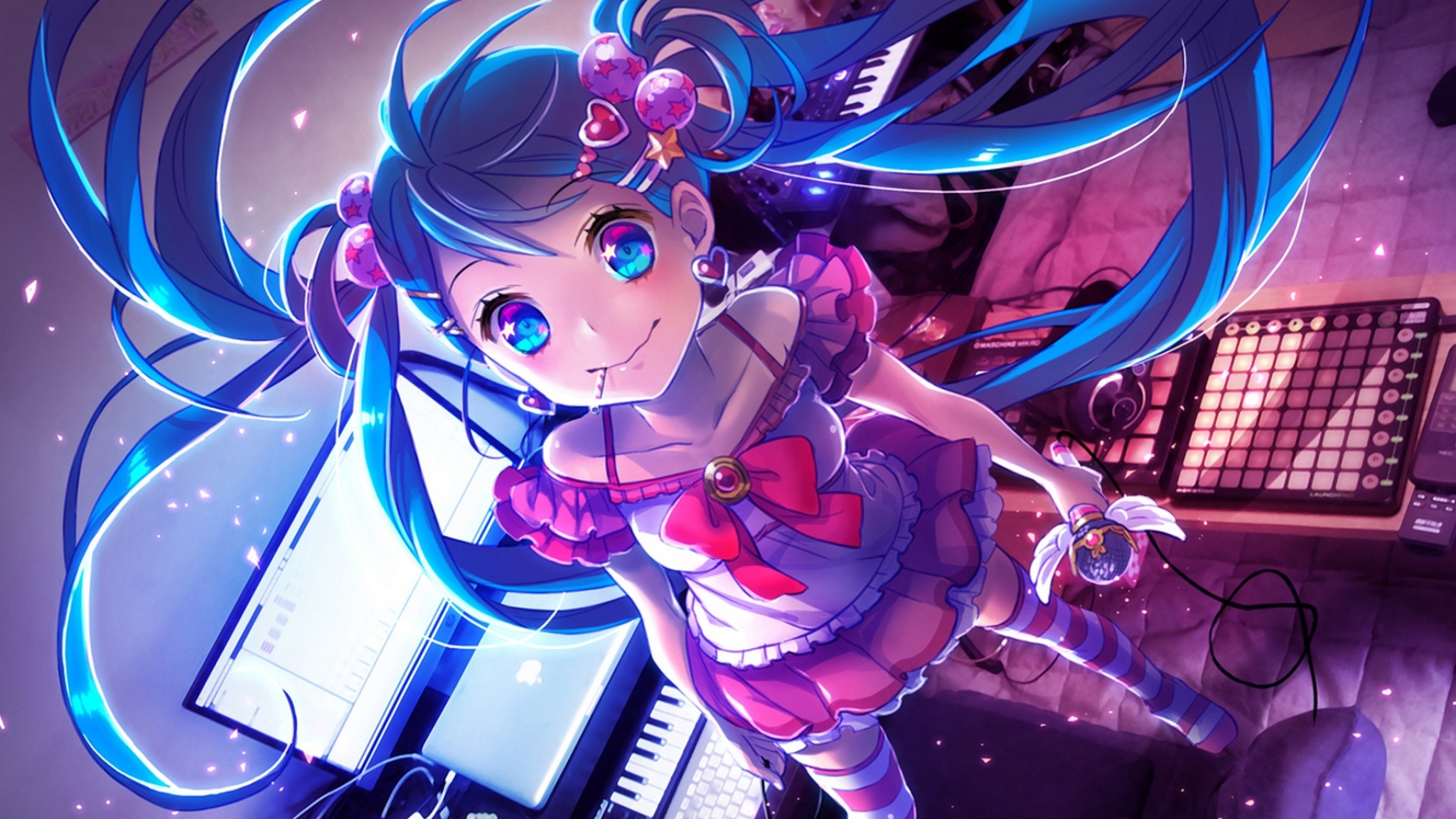 2048x1152 Preview wallpaper yamori, stom, hatsune miku, vocaloid, keyboard,  synthesizer, microphone