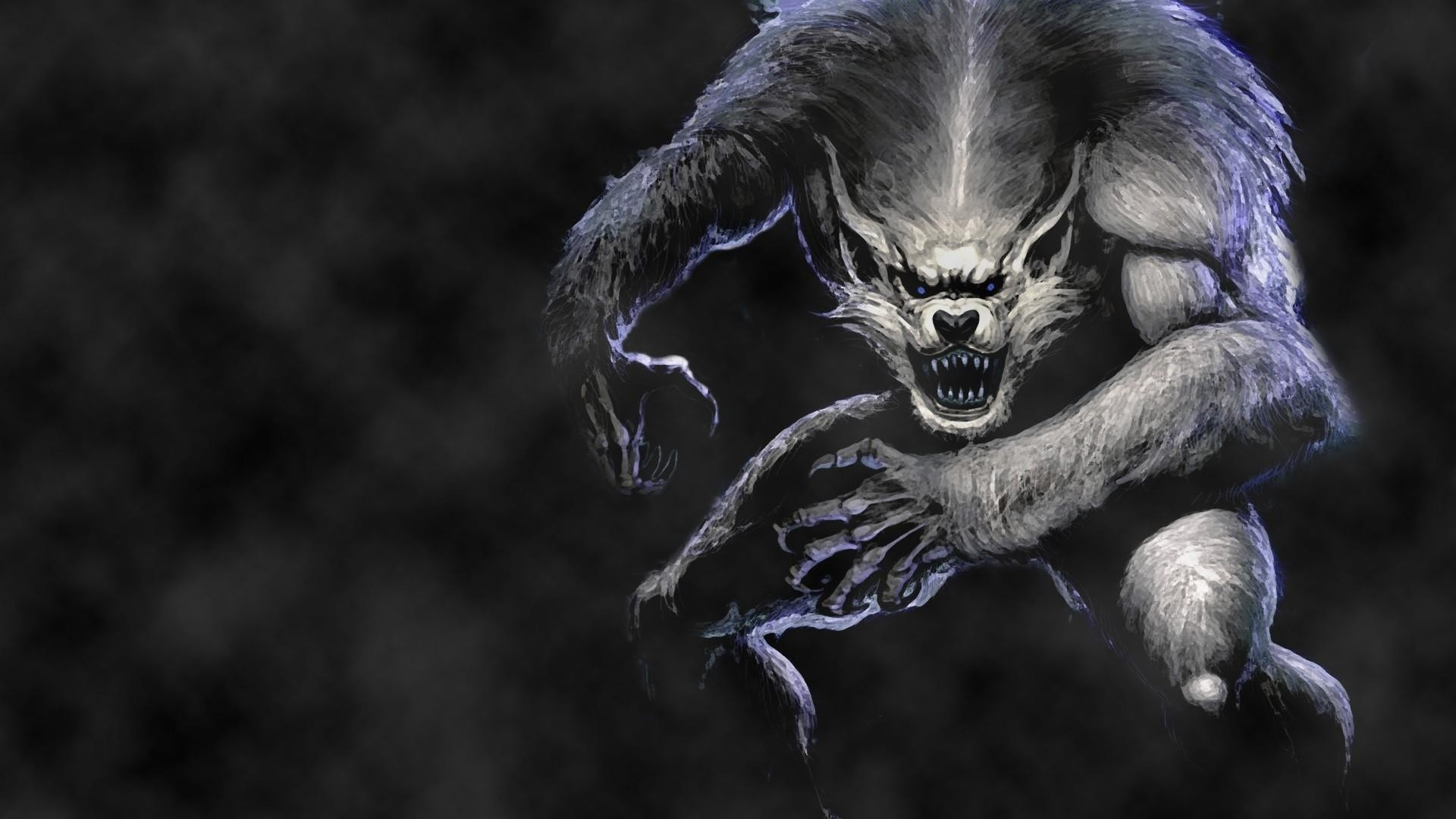 1920x1080 Preview wallpaper werewolf, wolf, jump, fog