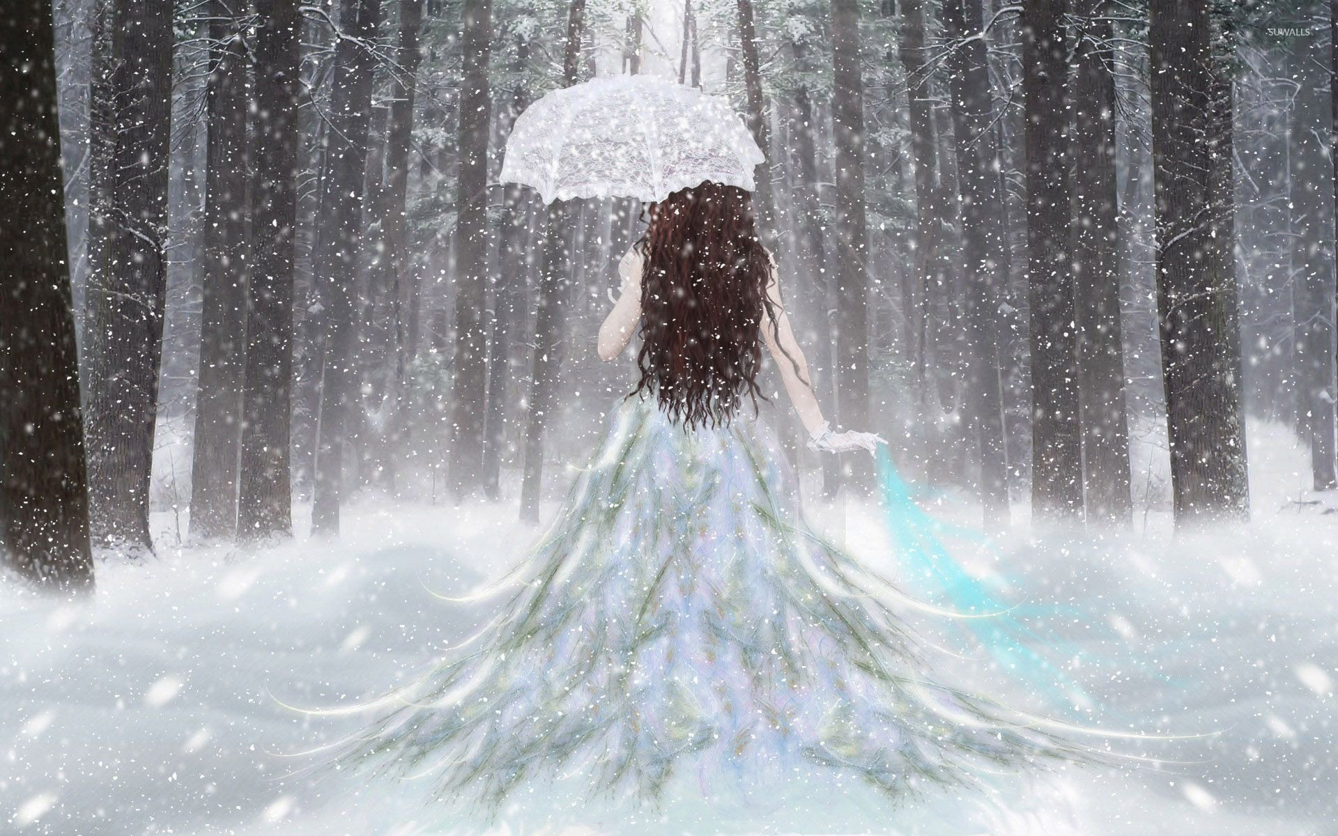 1920x1200 Princess with an umbrella in the snow wallpaper  jpg