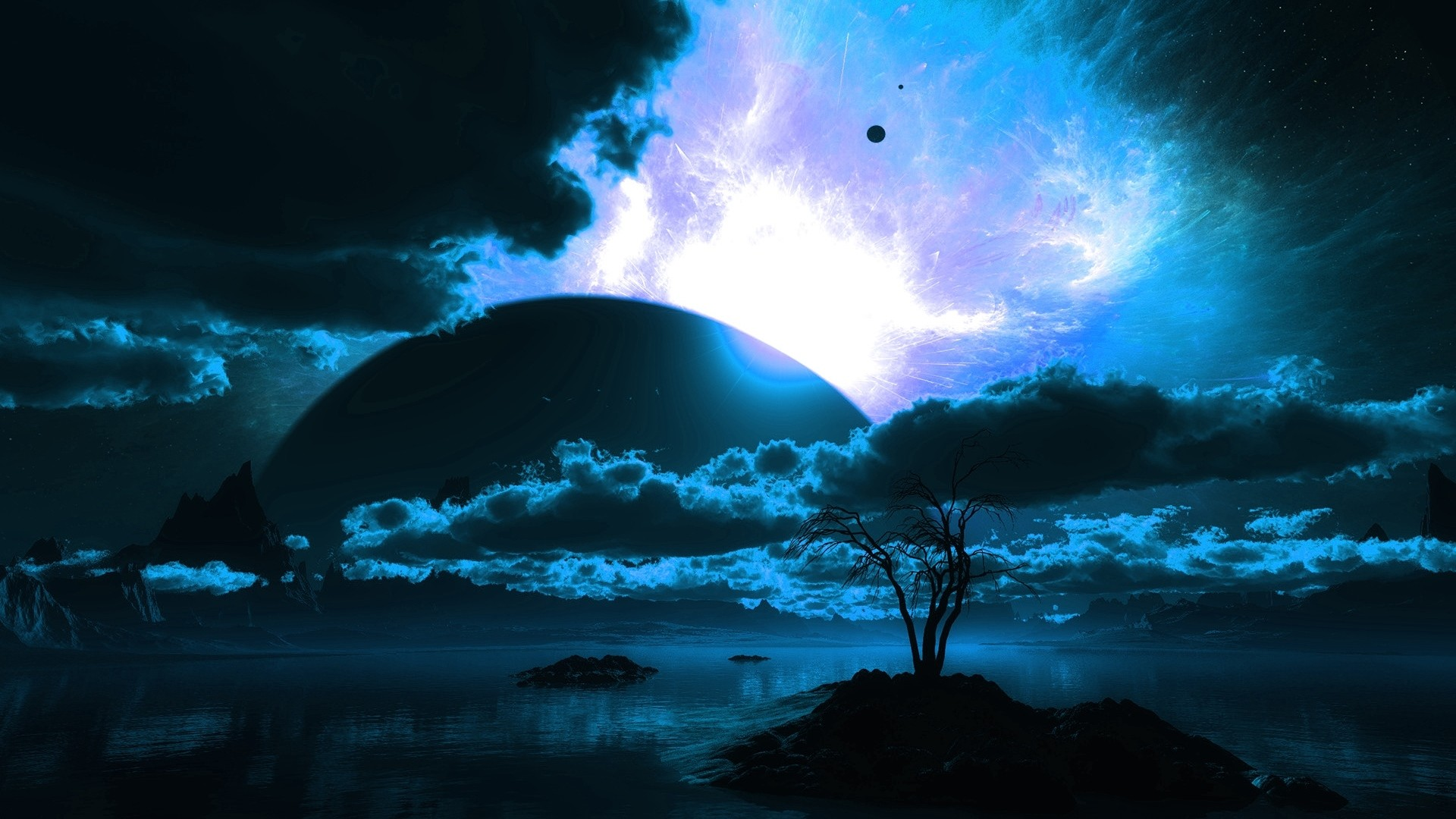 1920x1080 Preview wallpaper body of water, planet, horizon