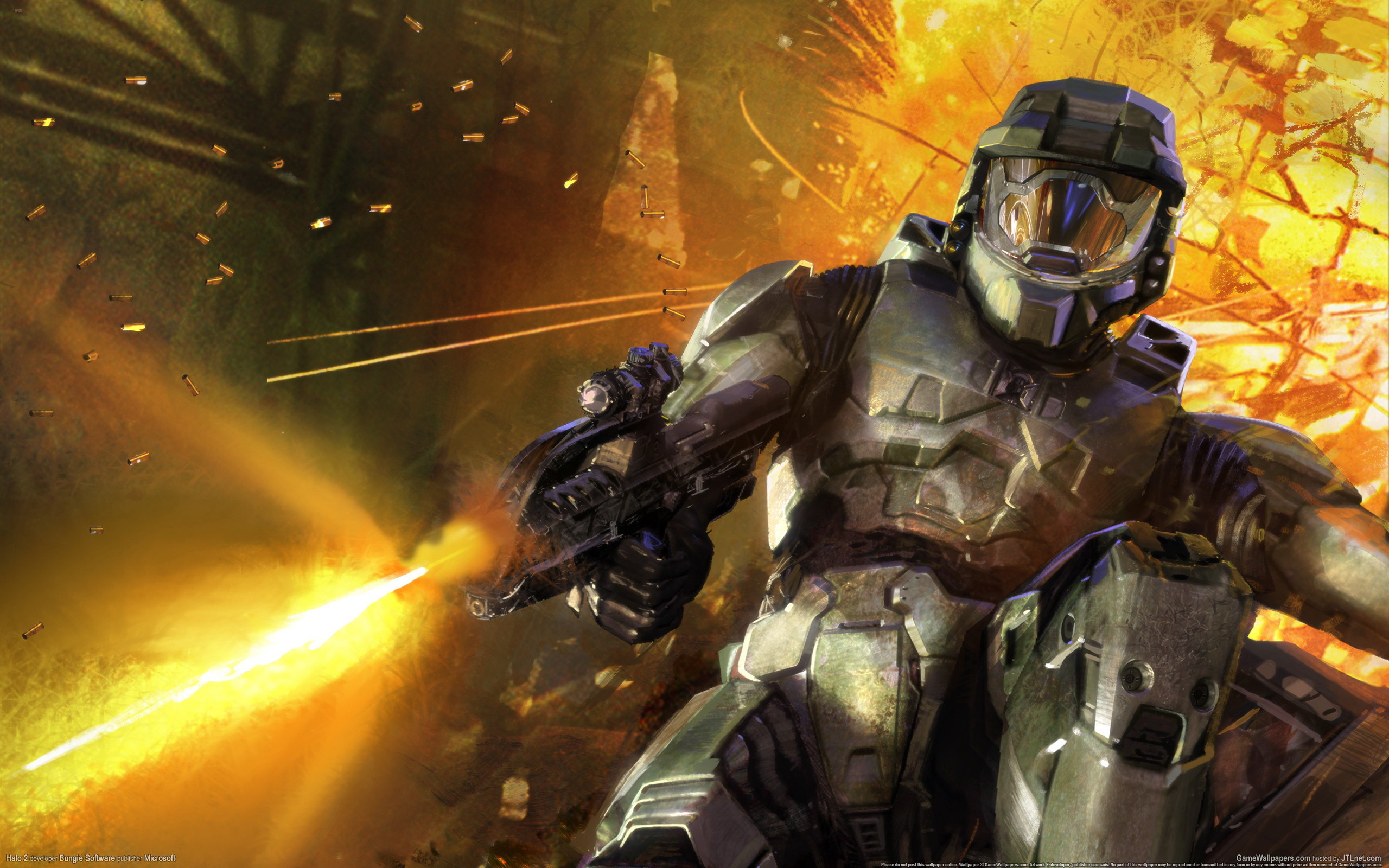 2560x1600 Video Game - Halo 2 Game Fire Gun Master Chief Wallpaper