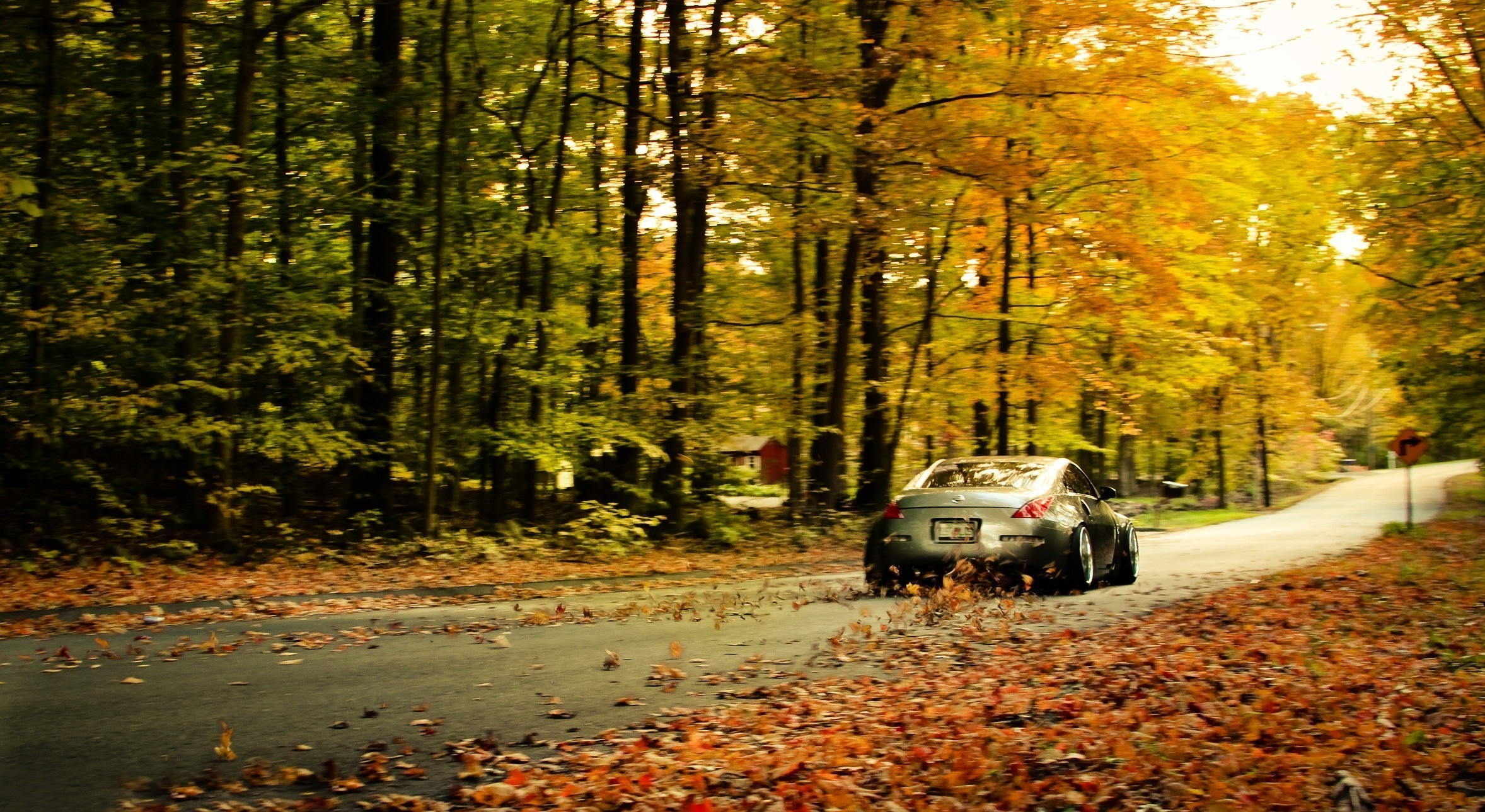 2356x1289 Nissan 350z fallen leaves wallpaper