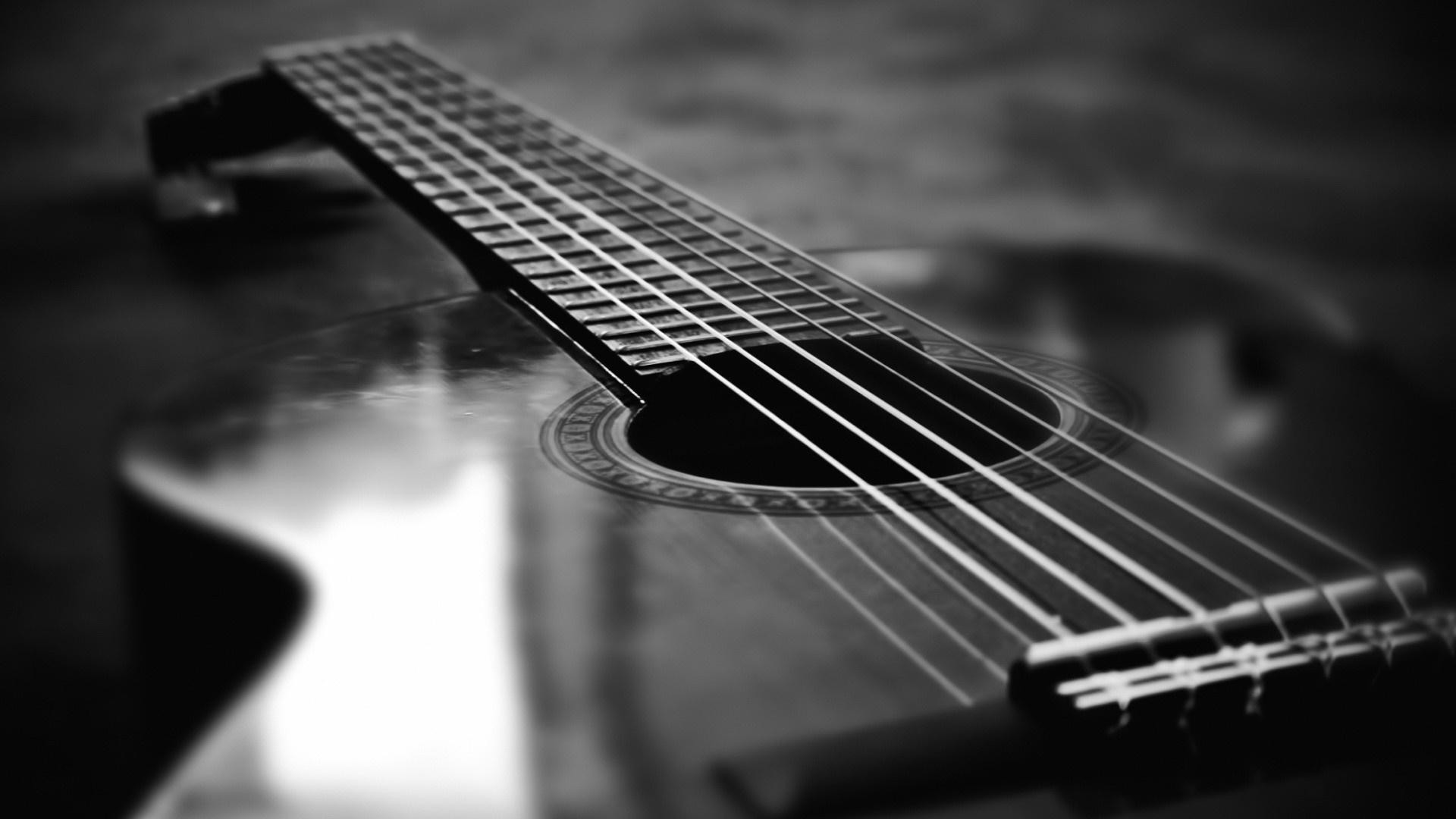 1920x1080 monochrome guitar desktop wallpaper 58780