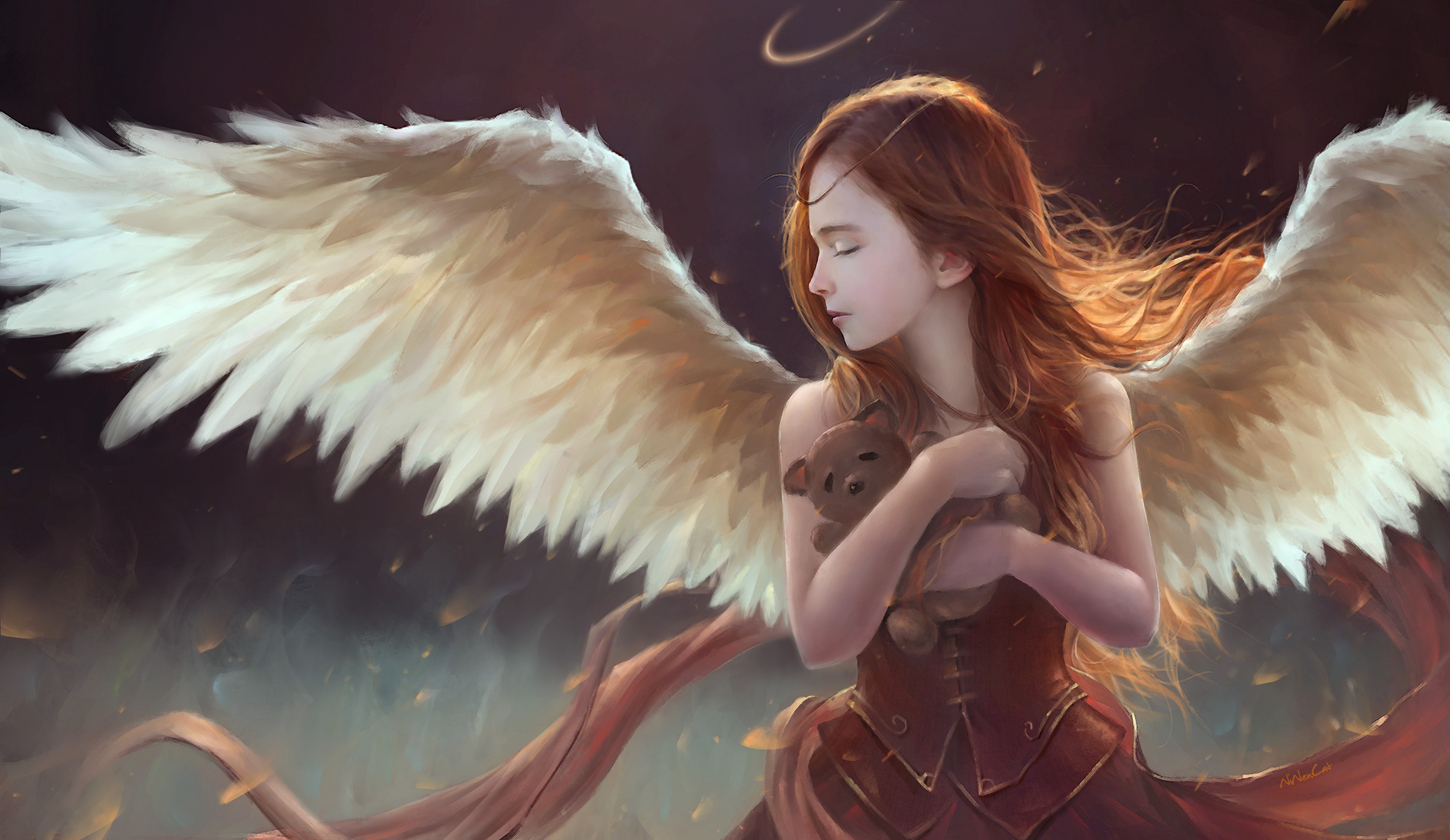 3000x1739 Fantasy - Angel Wings Girl Child Fantasy Teddy Bear Wallpaper