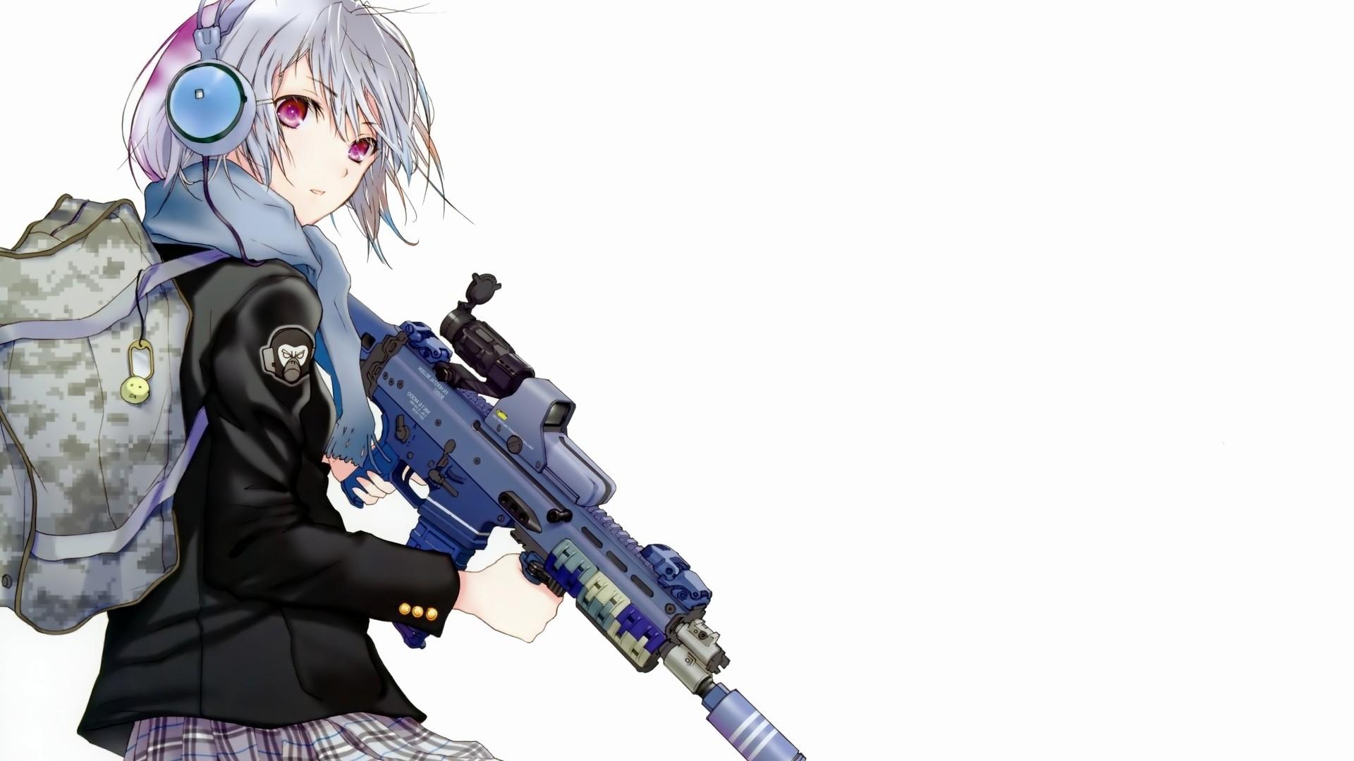 1920x1080 Sniper Anime Girl Wallpaper