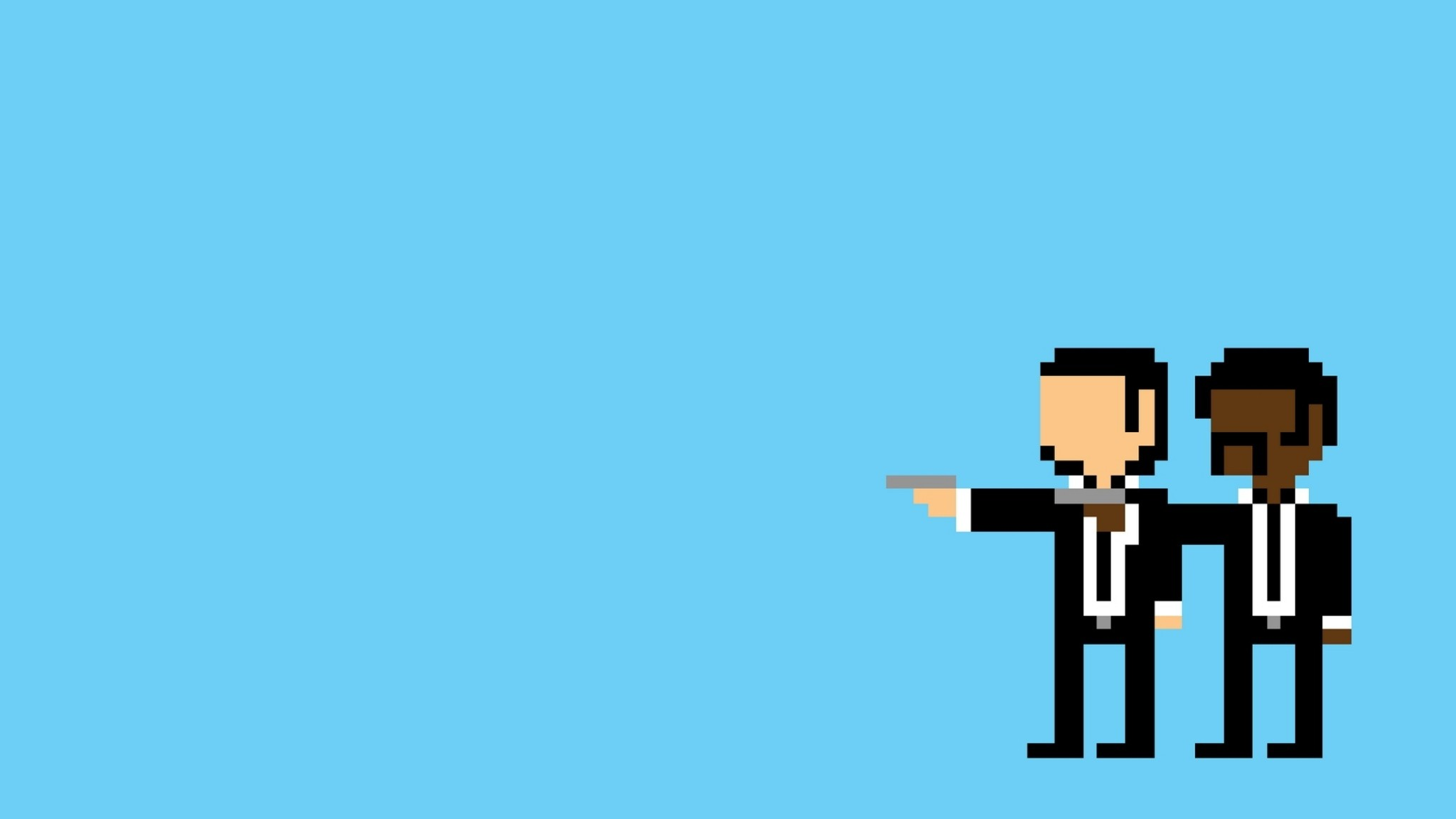 2048x1152 Preview wallpaper pulp pixel, people, minimalism, pulp fiction