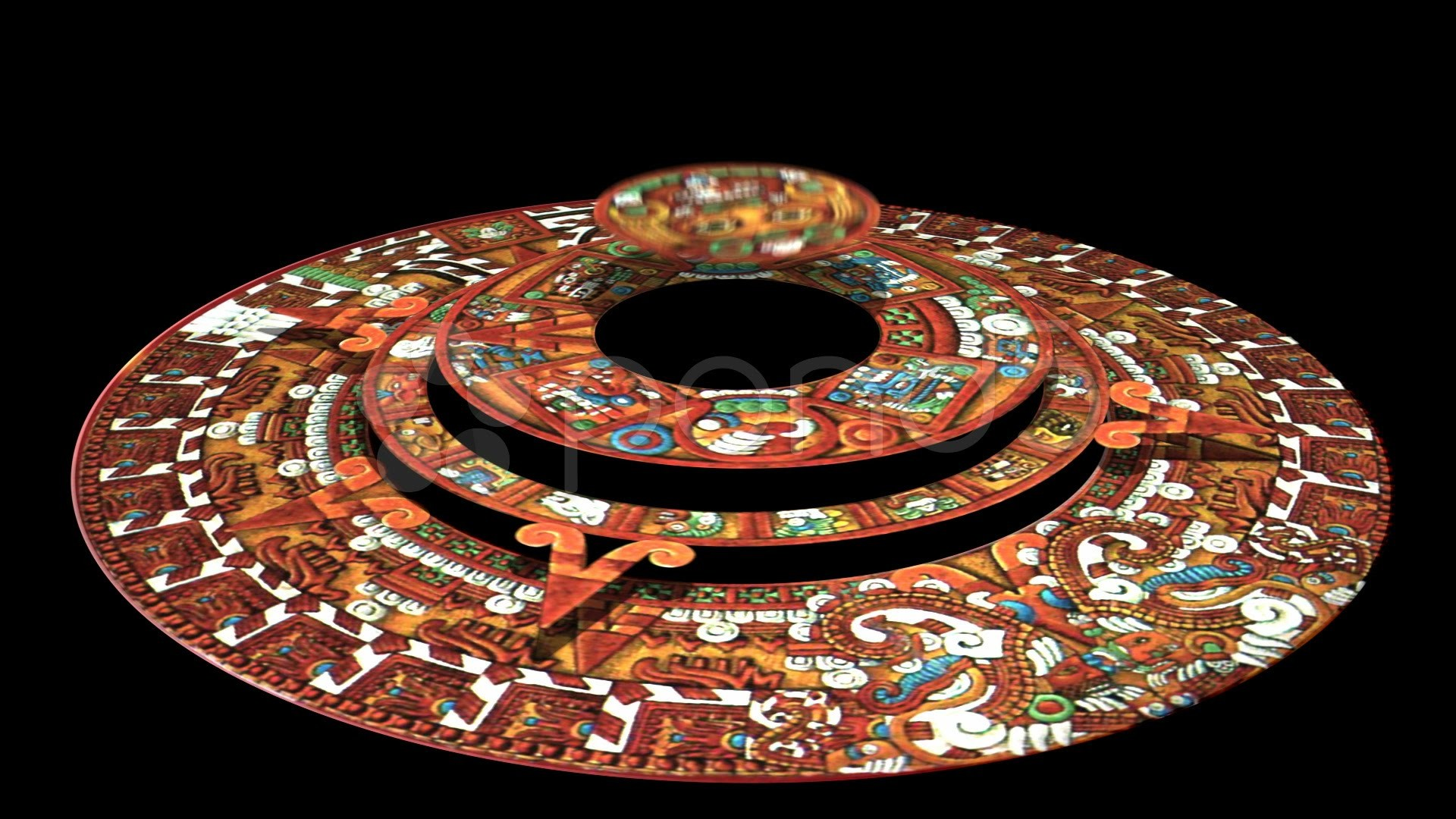 1920x1080 Mayan Doomsday Calendar (Technically Aztec Not Mayan) Rotates In 3D. Stock  Footage