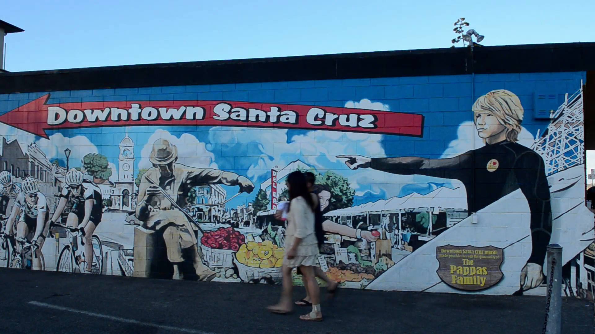 1920x1080 Santa Cruz California CA wall painting mural at beach on waterfront with  tourists Stock Video Footage - Storyblocks Video