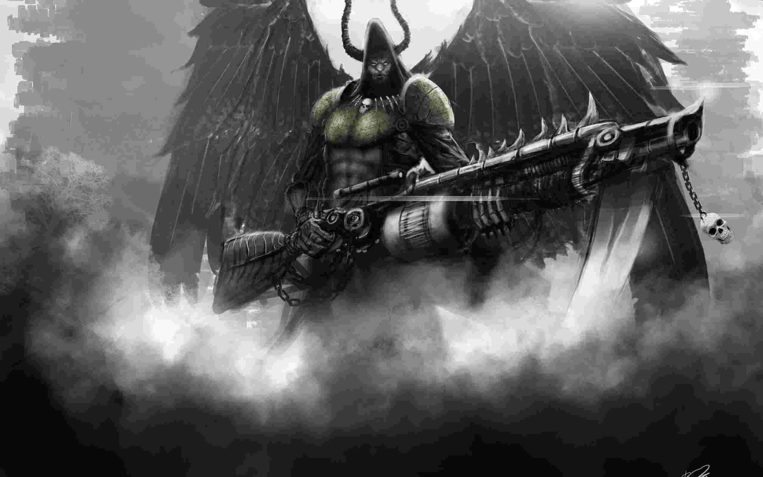2560x1600 Death angel with wings and a machine gun