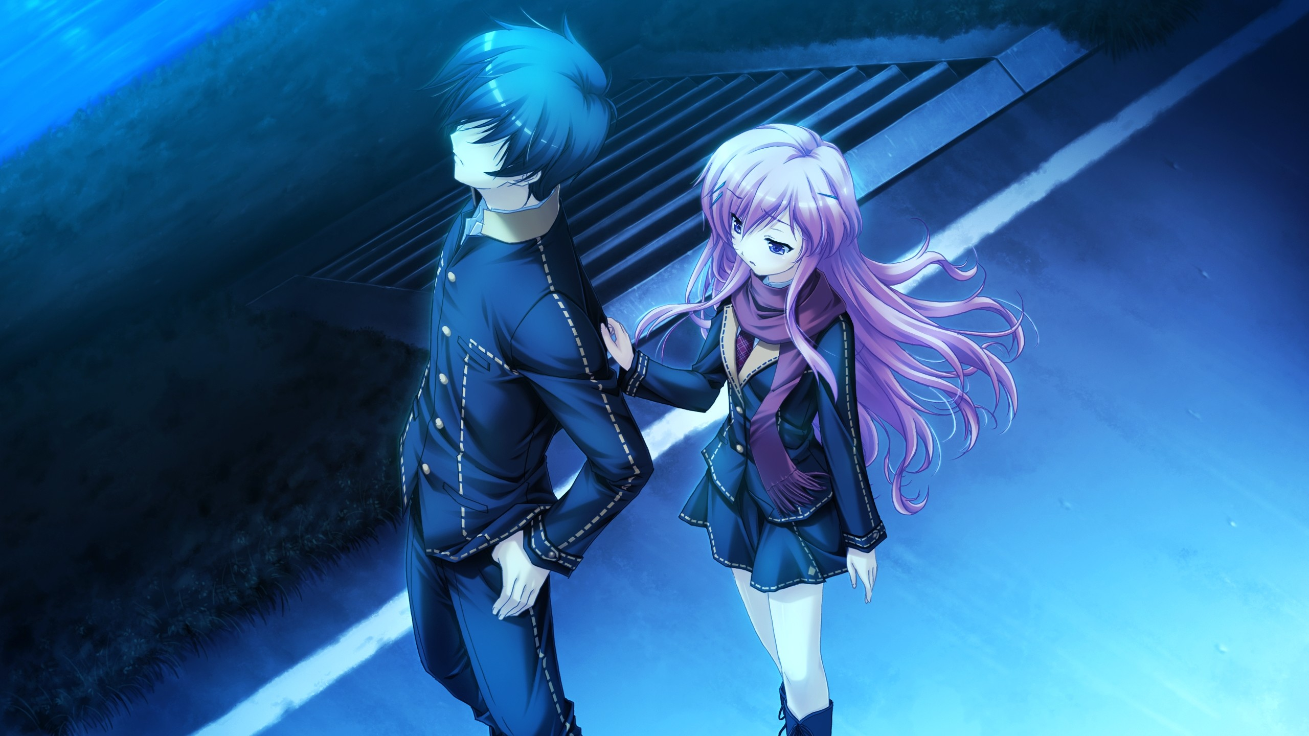 2560x1440 Wallpaper Anime, Boy, Girl, Touching, Twilight