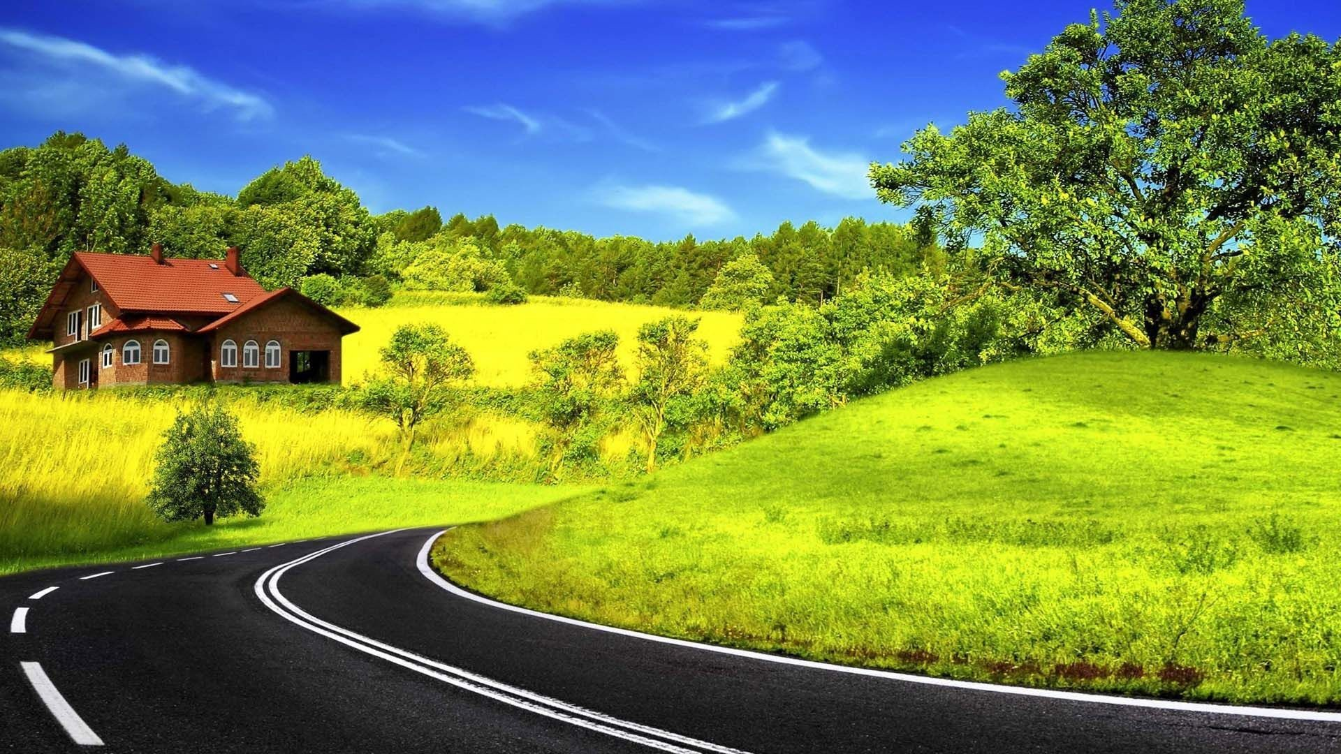 1920x1080 Green And Yellow Curved Road | HD Nature Wallpaper Free Download ...