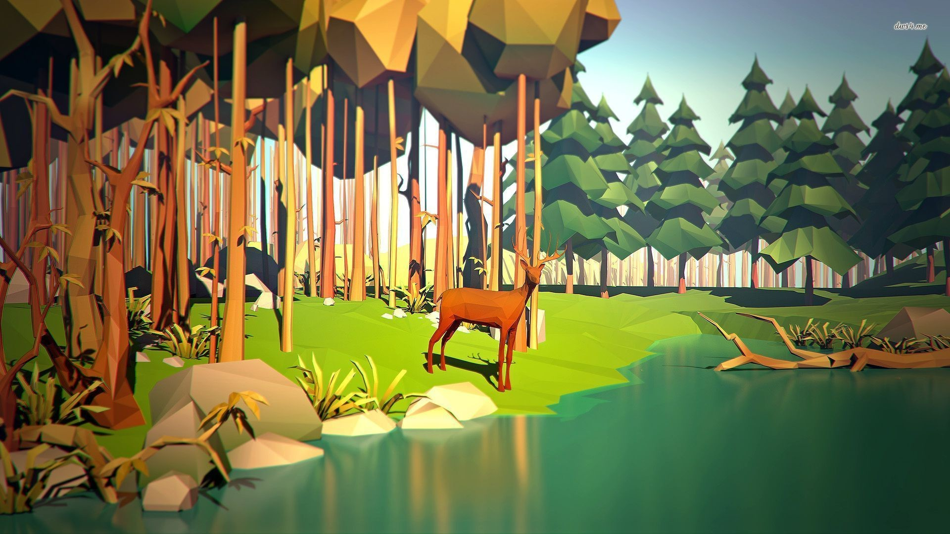 1920x1080 Polygon deer at the forest pond wallpaper