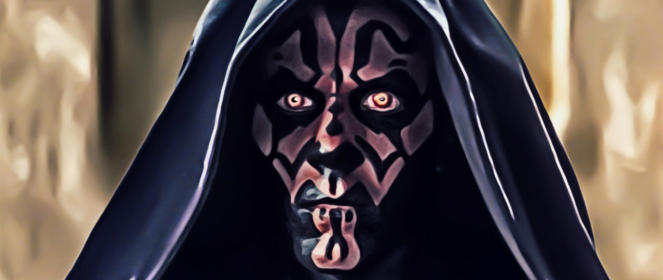 2560x1080  Wallpaper star wars, darth maul, art, face