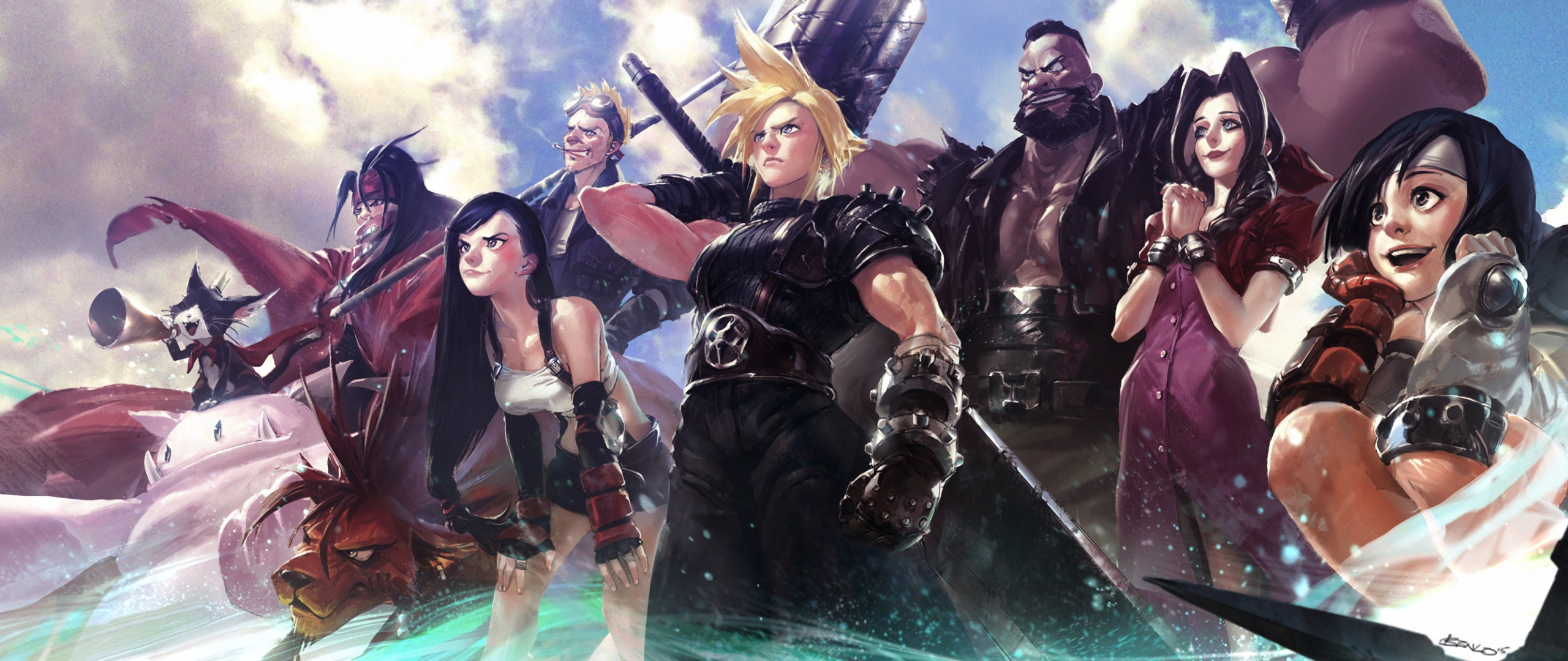 2560x1080  wallpaper Final Fantasy VII, video game, warriors