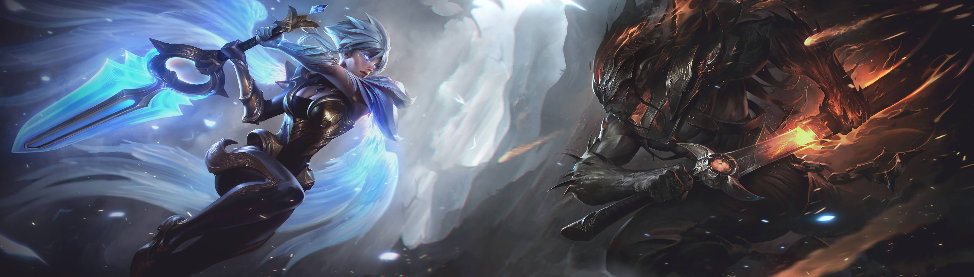 3840x1094 Dawnbringer Riven & Nightbringer Yasuo Combined Splash Art HD Wallpaper  Artwork League of Legends (2