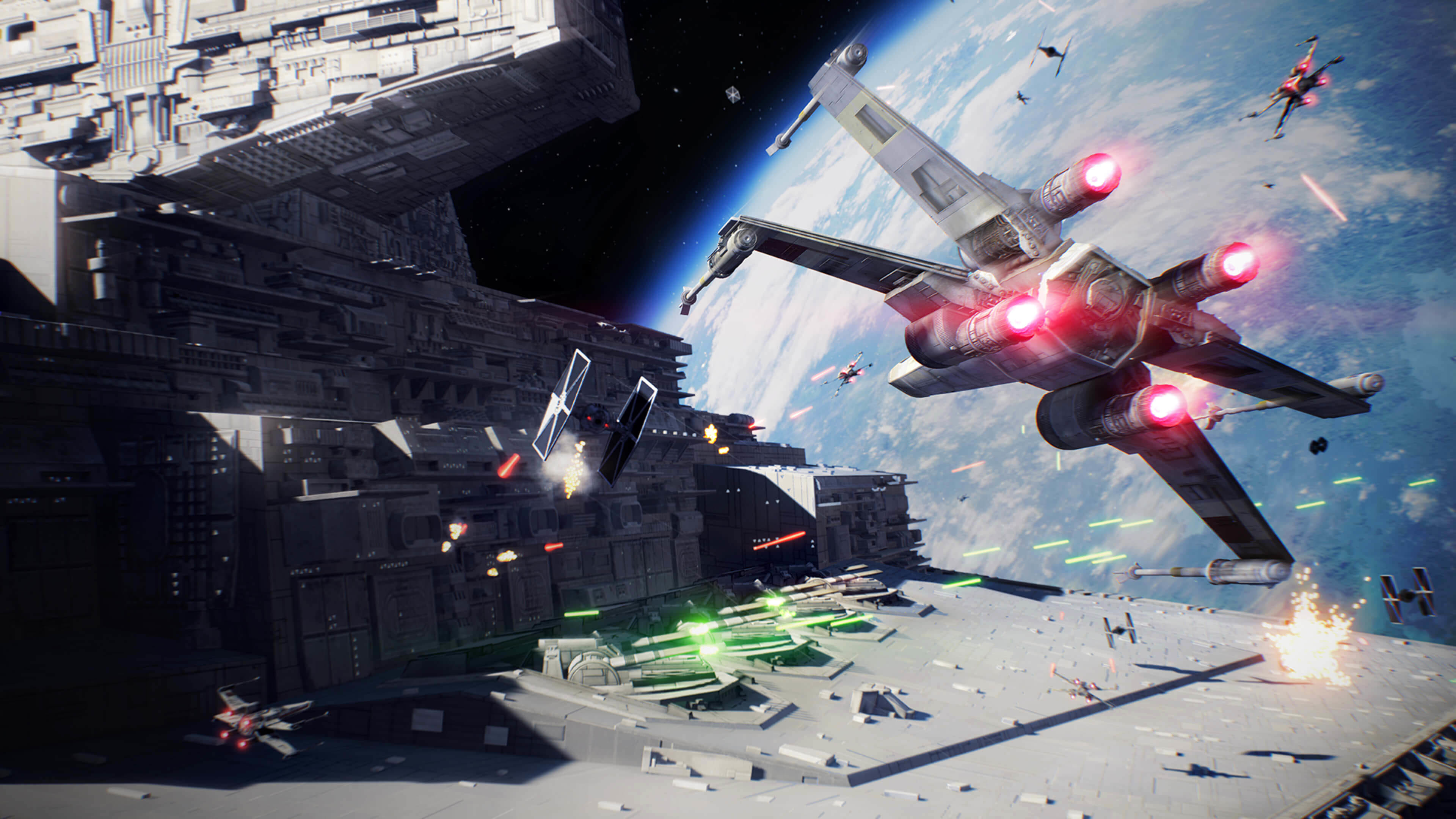 3840x2160 Star Wars: Battlefront II Space Battle  wallpaper