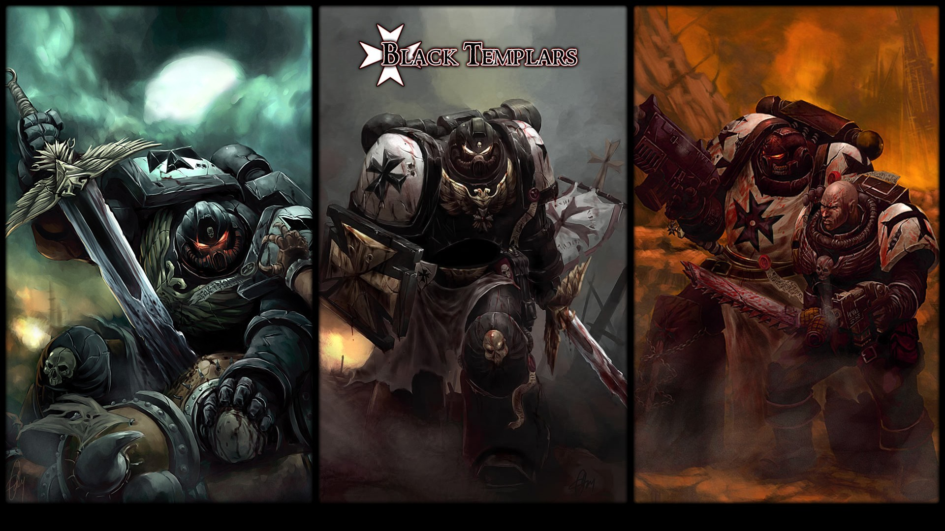 1920x1080 Black Templar Bolter Dawn Of War Space Marines Swords