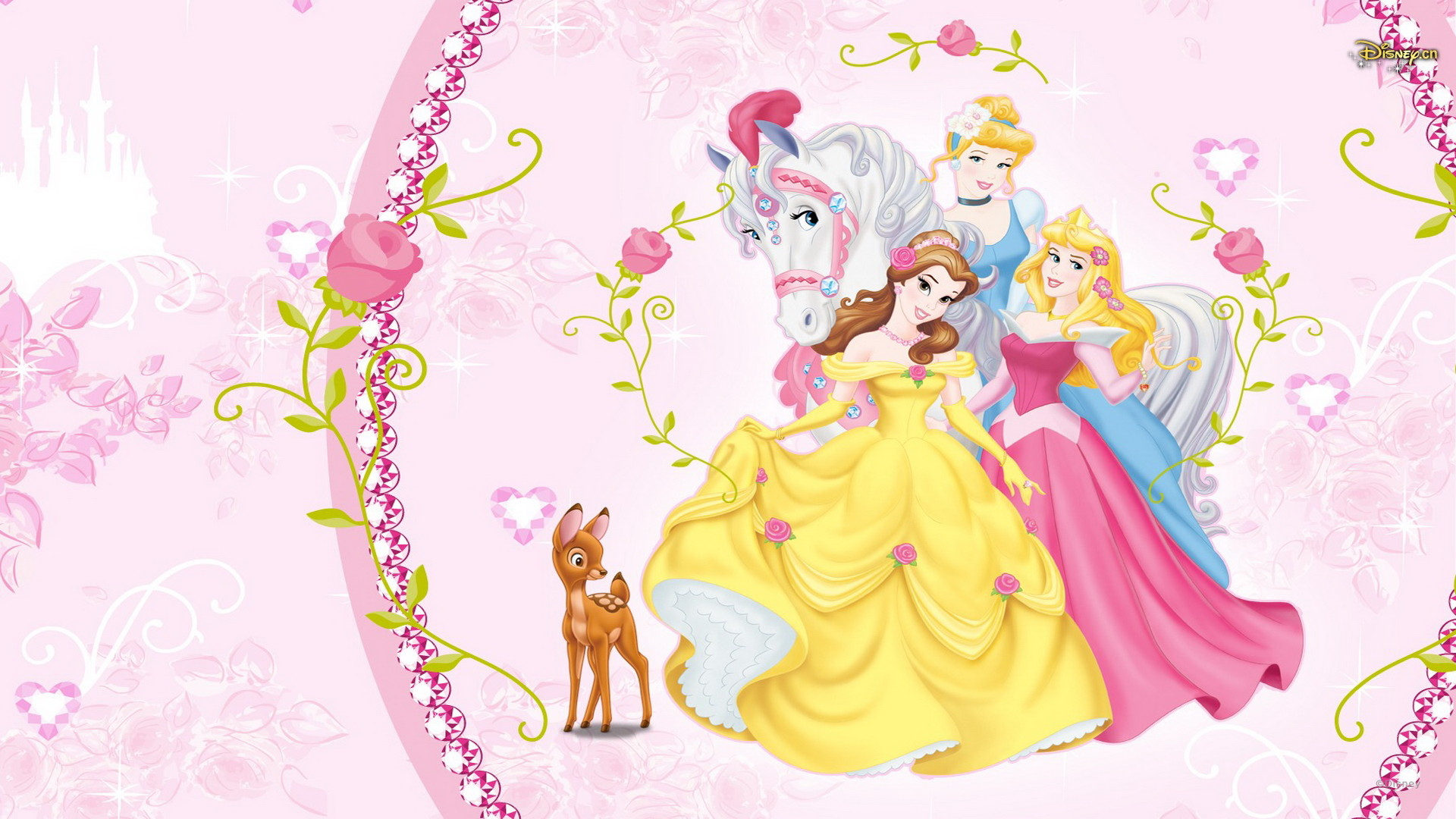 1920x1080 Beautiful Disney Princess Aurora, Belle and Cinderella Wallpaper