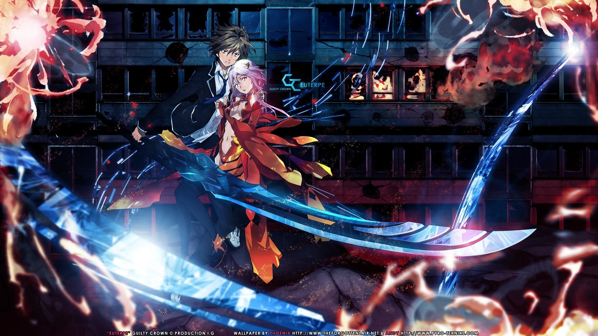 1920x1080 Tie Anime Wallpaper Girls Swords Guilty Crown