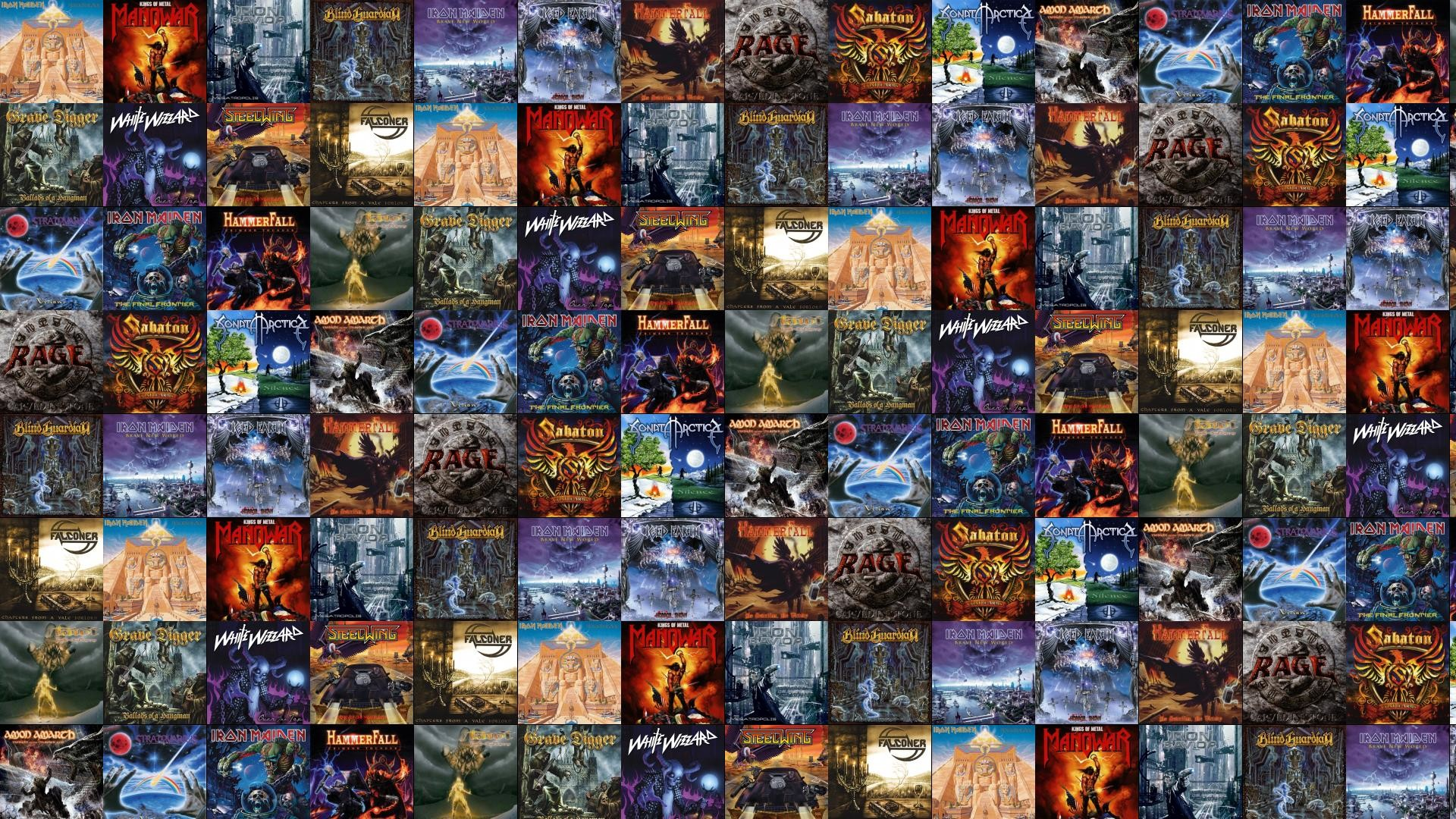 1920x1080 Download this free wallpaper with images of Iron Maiden – Powerslave,  Manowar – Kings Of Metal, Iron Savior – Megatropolis, Blind Guardian –  Nightfall In ...