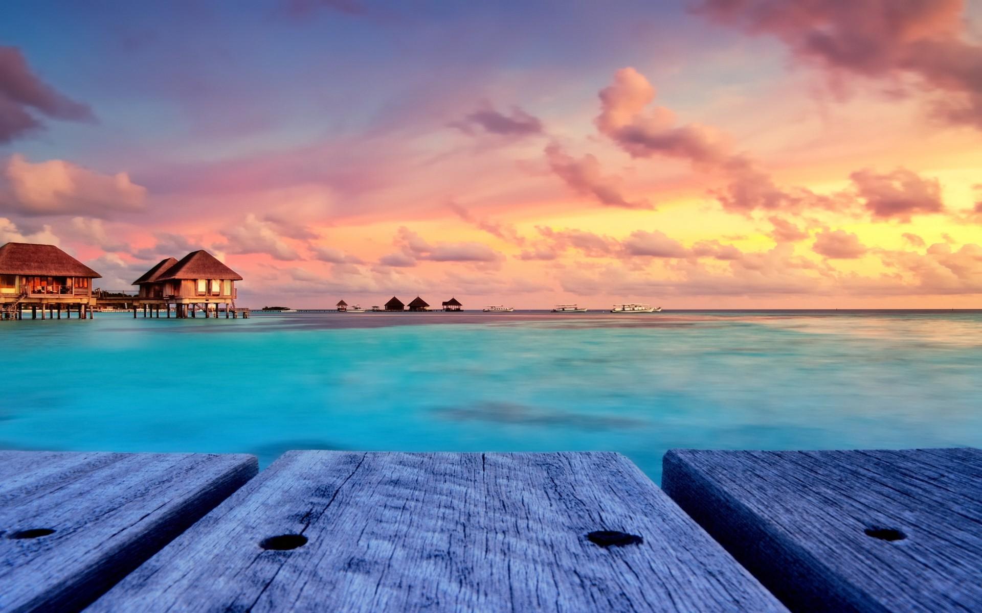 Hd Tropical Island Beach Paradise Wallpapers And Backgrounds: Tropical Island Sunset Wallpaper (58+ Images