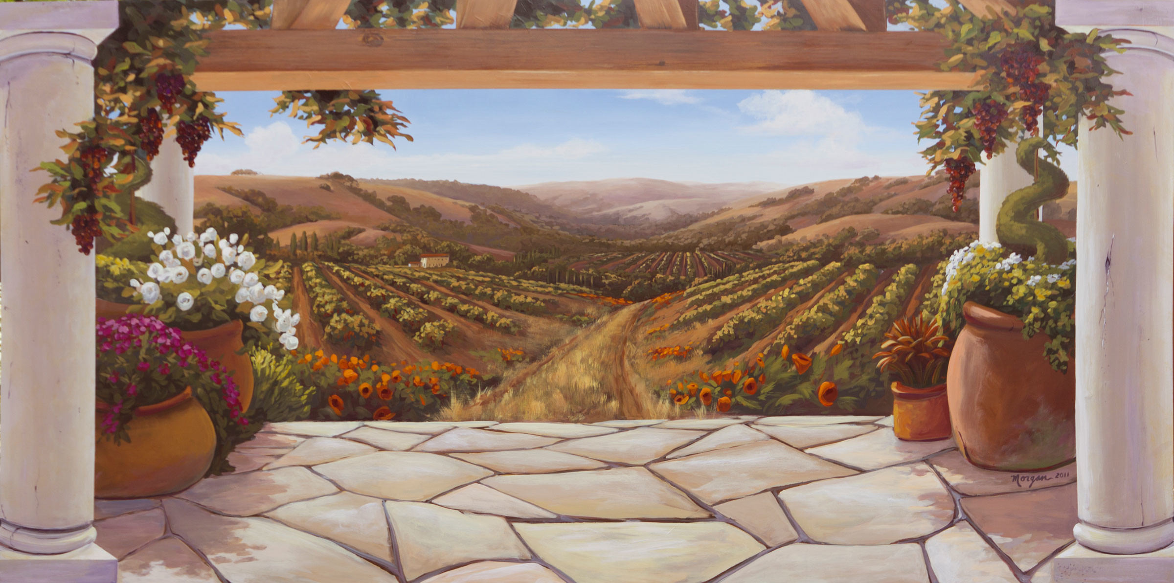 2400x1192 Napa Vineyard Wallpaper