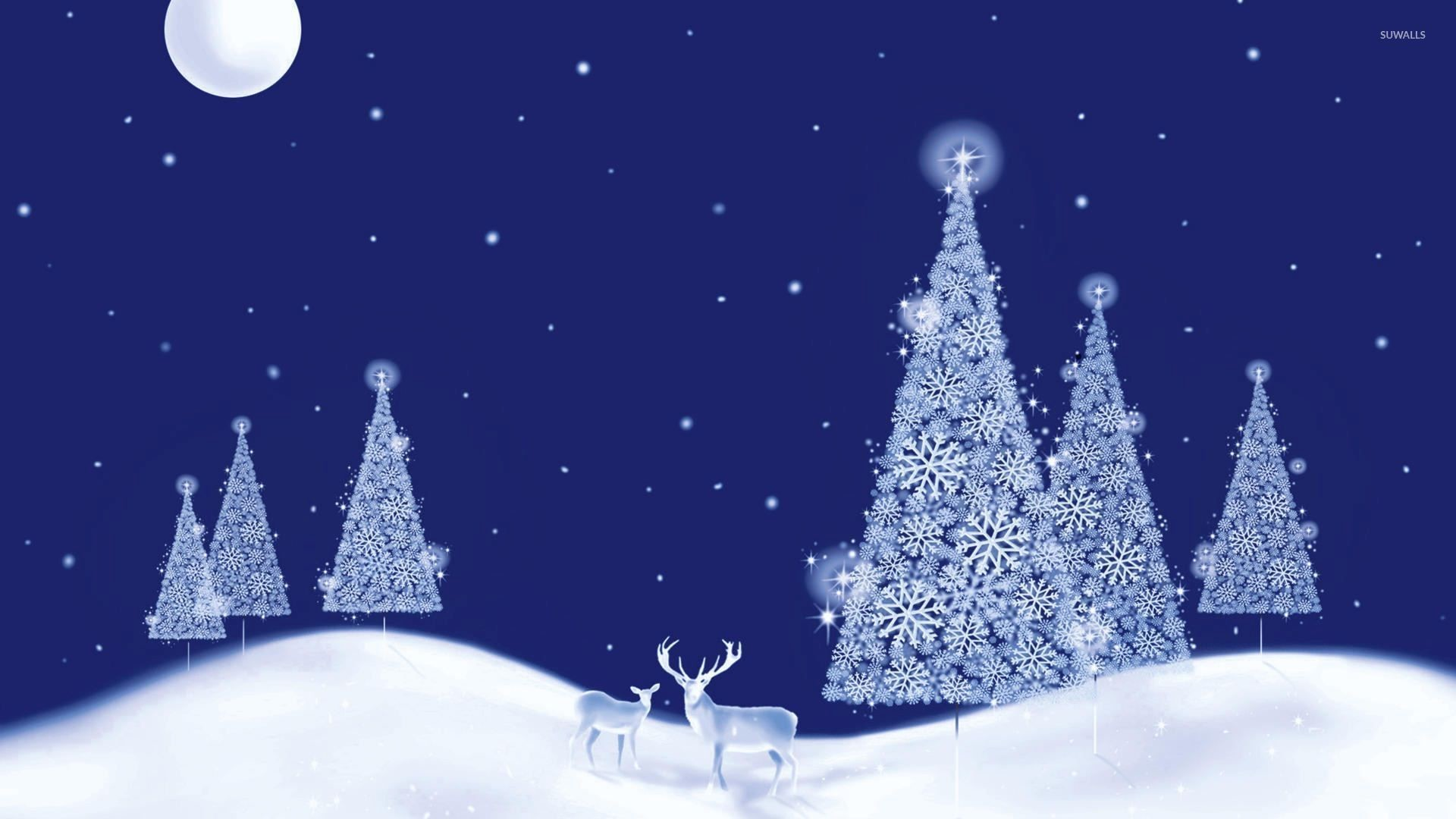 1920x1080 Glowing white Christmas trees on a beautiful winter night wallpaper