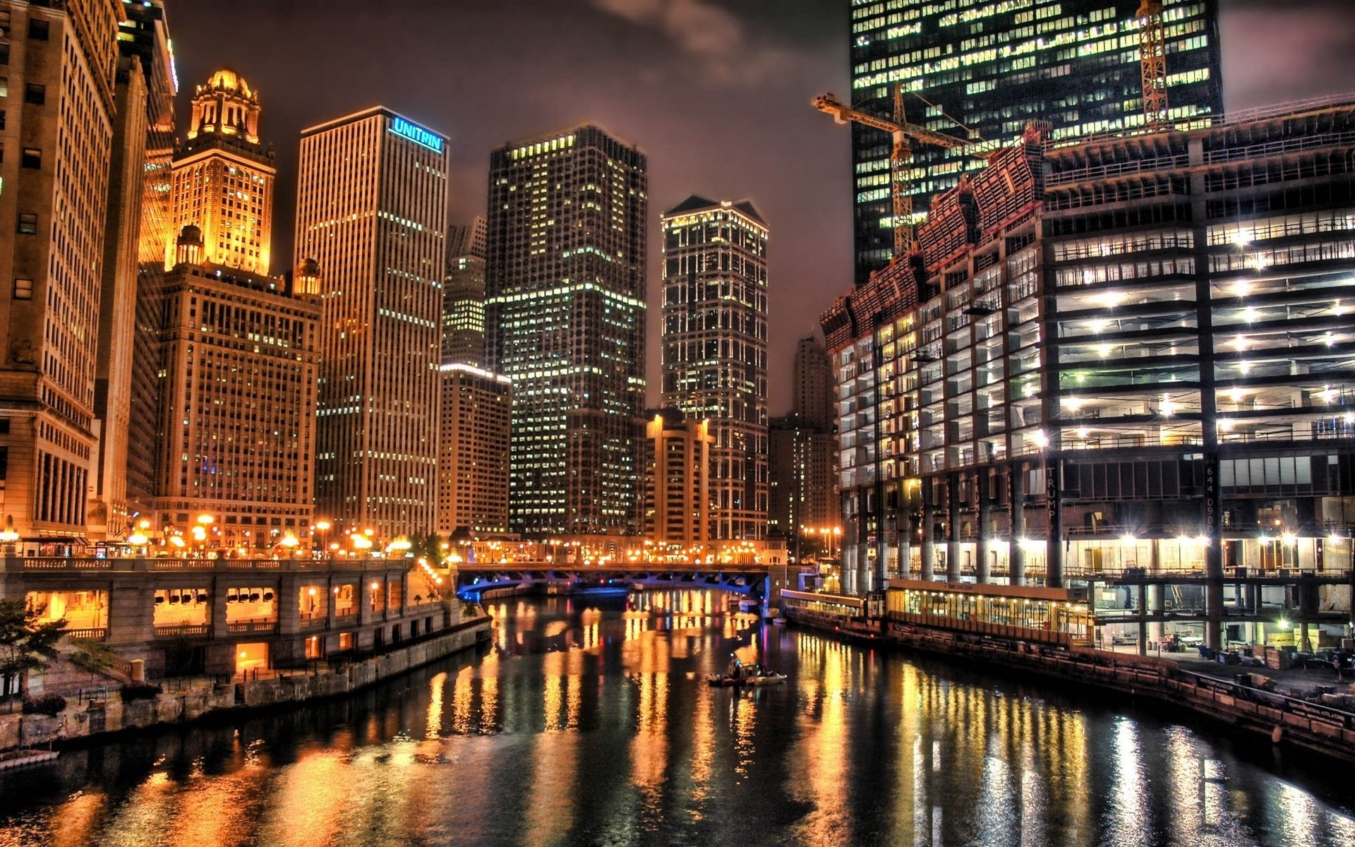1920x1200 Chicago at night HD wallpaper