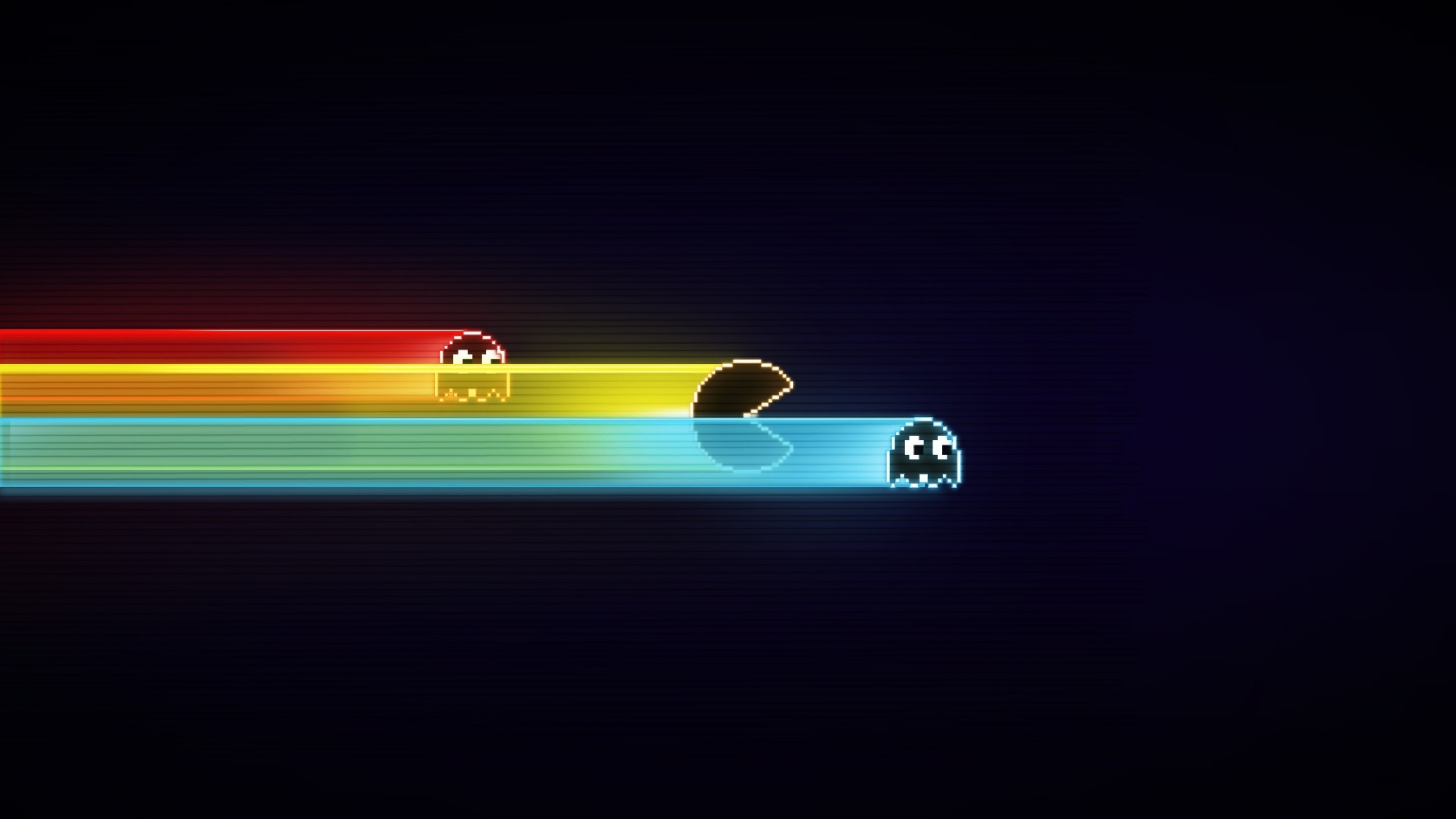 2560x1440 Preview wallpaper pacman, game, graphics, speed, harassment