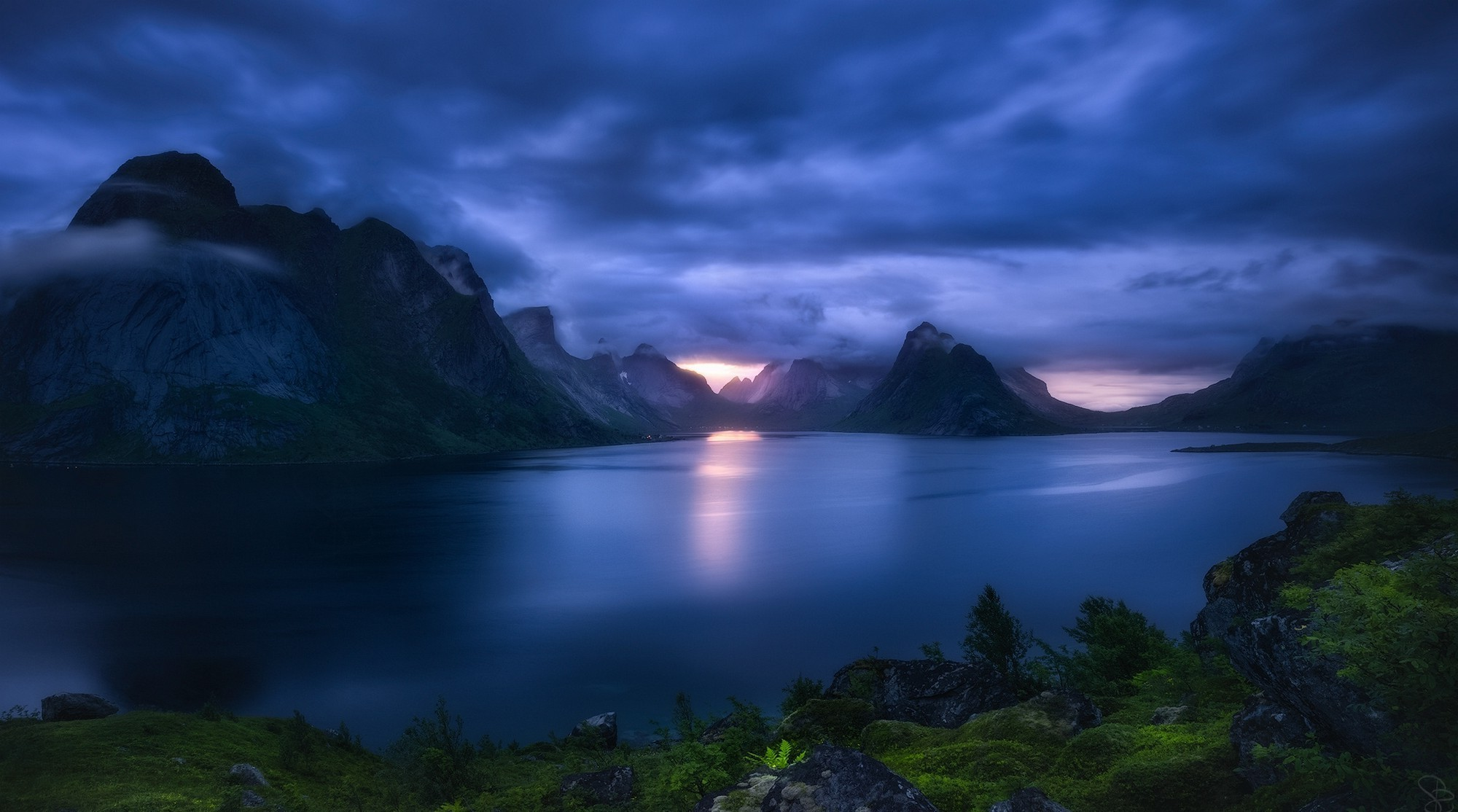 2000x1114 nature, Landscape, Sunset, Dark, Clouds, Mountain, Lake, Grass, Shrubs,  Blue, Norway, Lofoten Wallpapers HD / Desktop and Mobile Backgrounds
