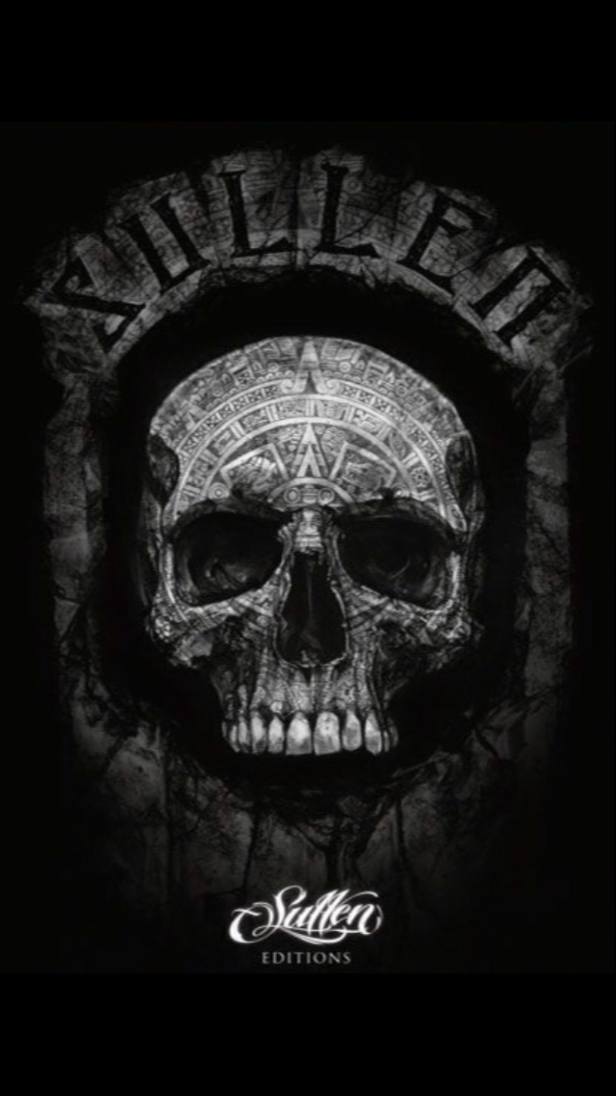 1242x2208 Skull with Aztec Calendar Art