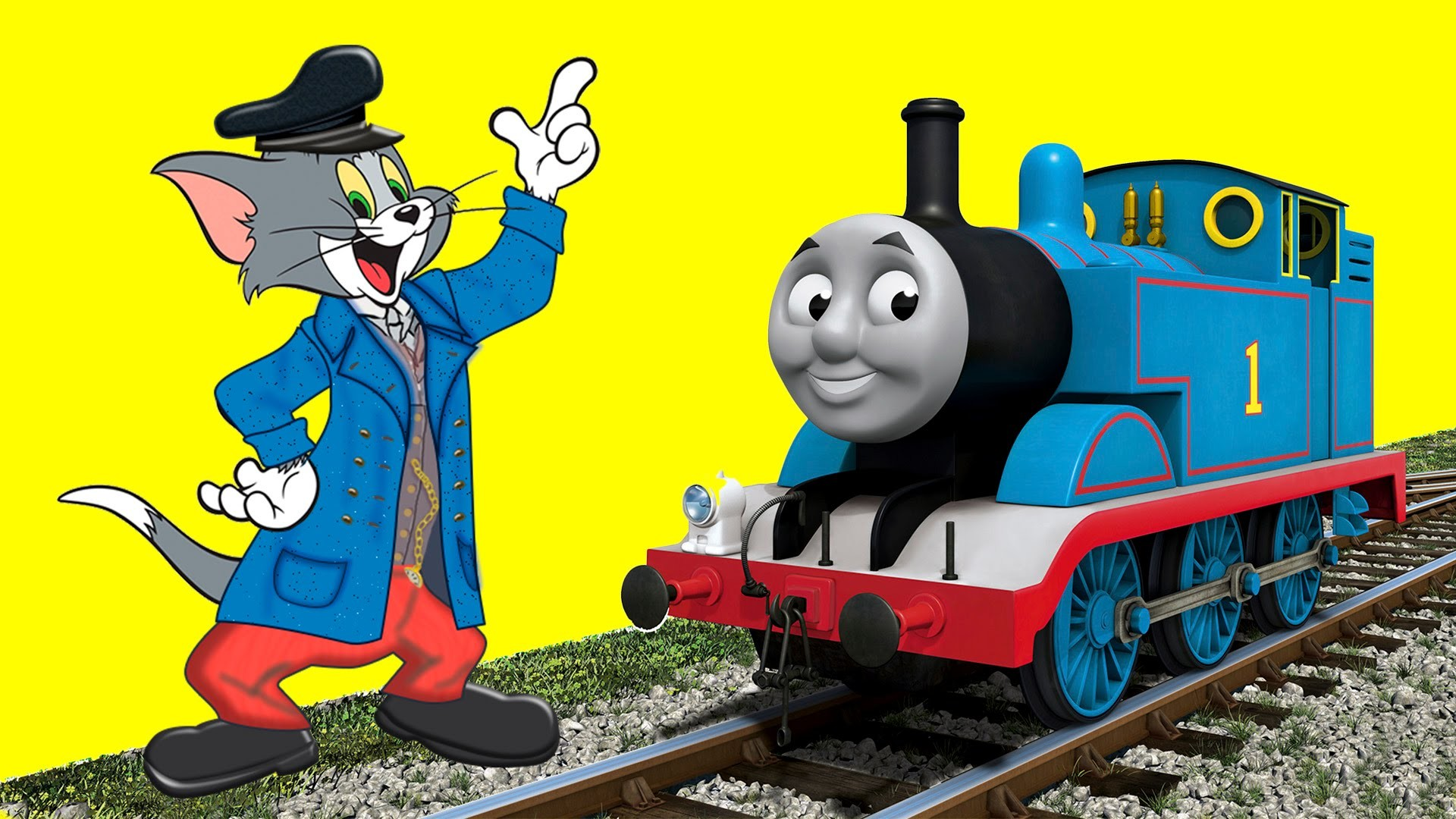 1920x1080 Tom and Jerry TRAINS! Transformation into Thomas the Train Cartoon .