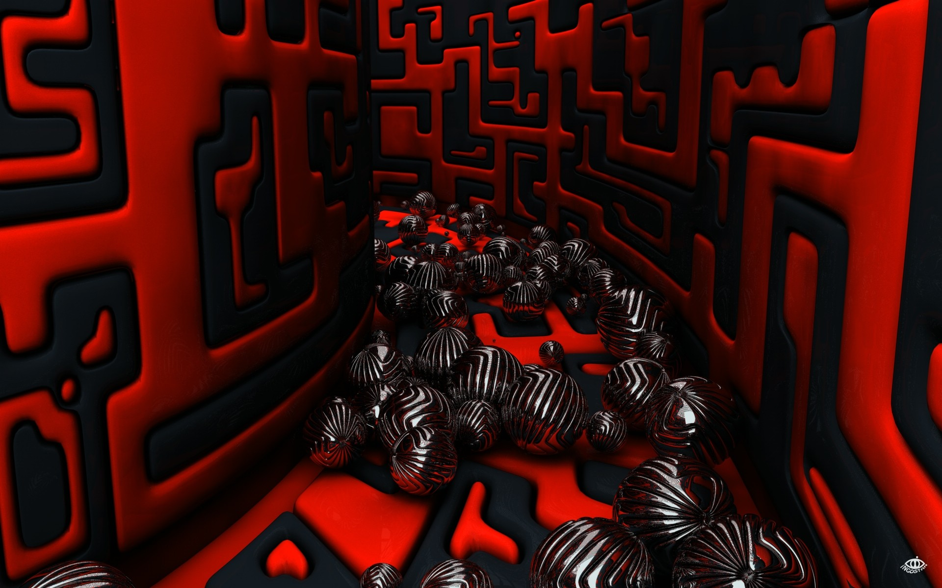 1920x1200 Wallpaper 3D, Cubes, Black, Red, Abstract, #639